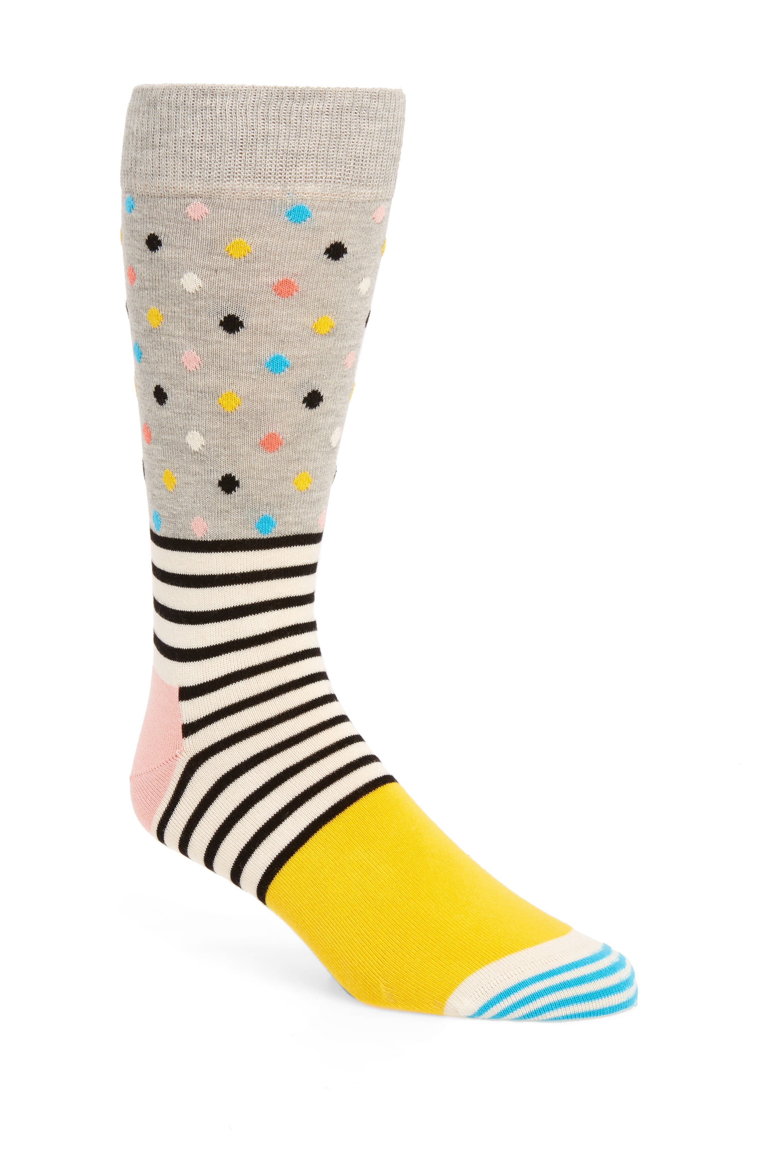 Stripe & Dot Socks,                             Main thumbnail 1, color,                             Light Pastel Grey