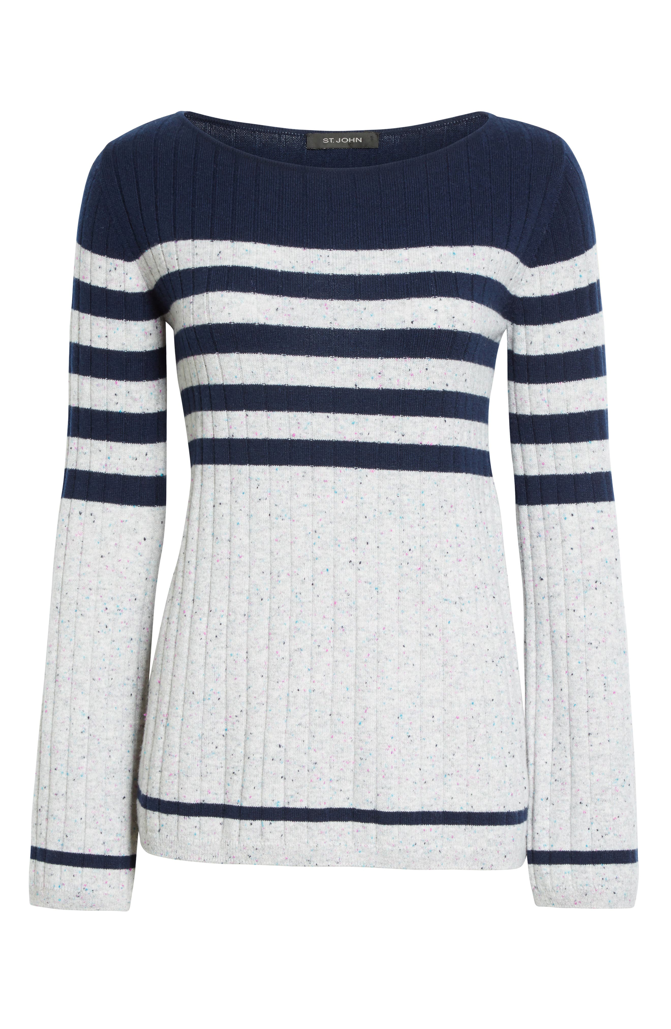 Side Button Stripe Cashmere Sweater,                             Alternate thumbnail 6, color,                             Navy/ Mica