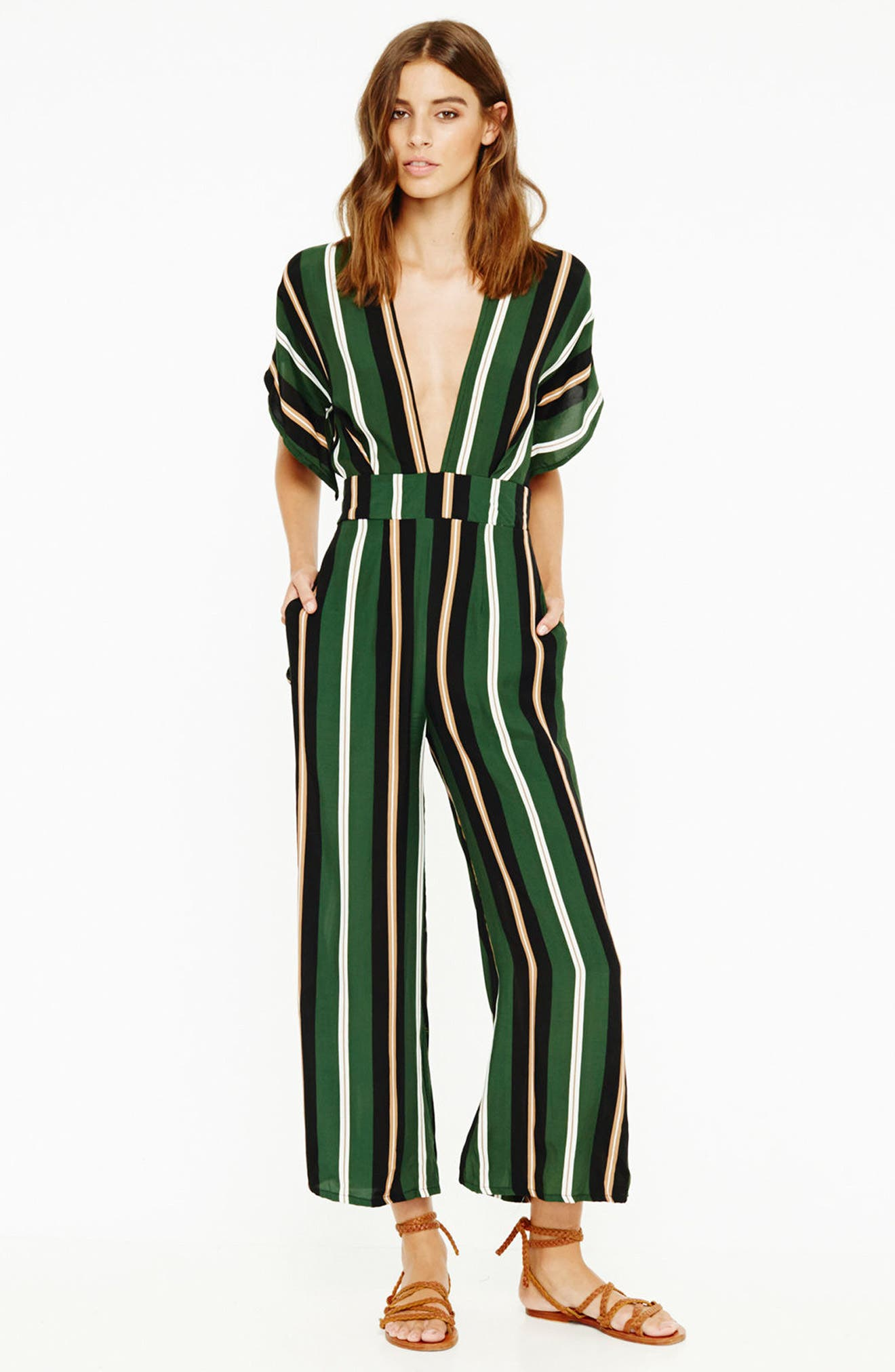 Cedric Jumpsuit,                             Alternate thumbnail 2, color,                             Firenze Stripes Green/Blk