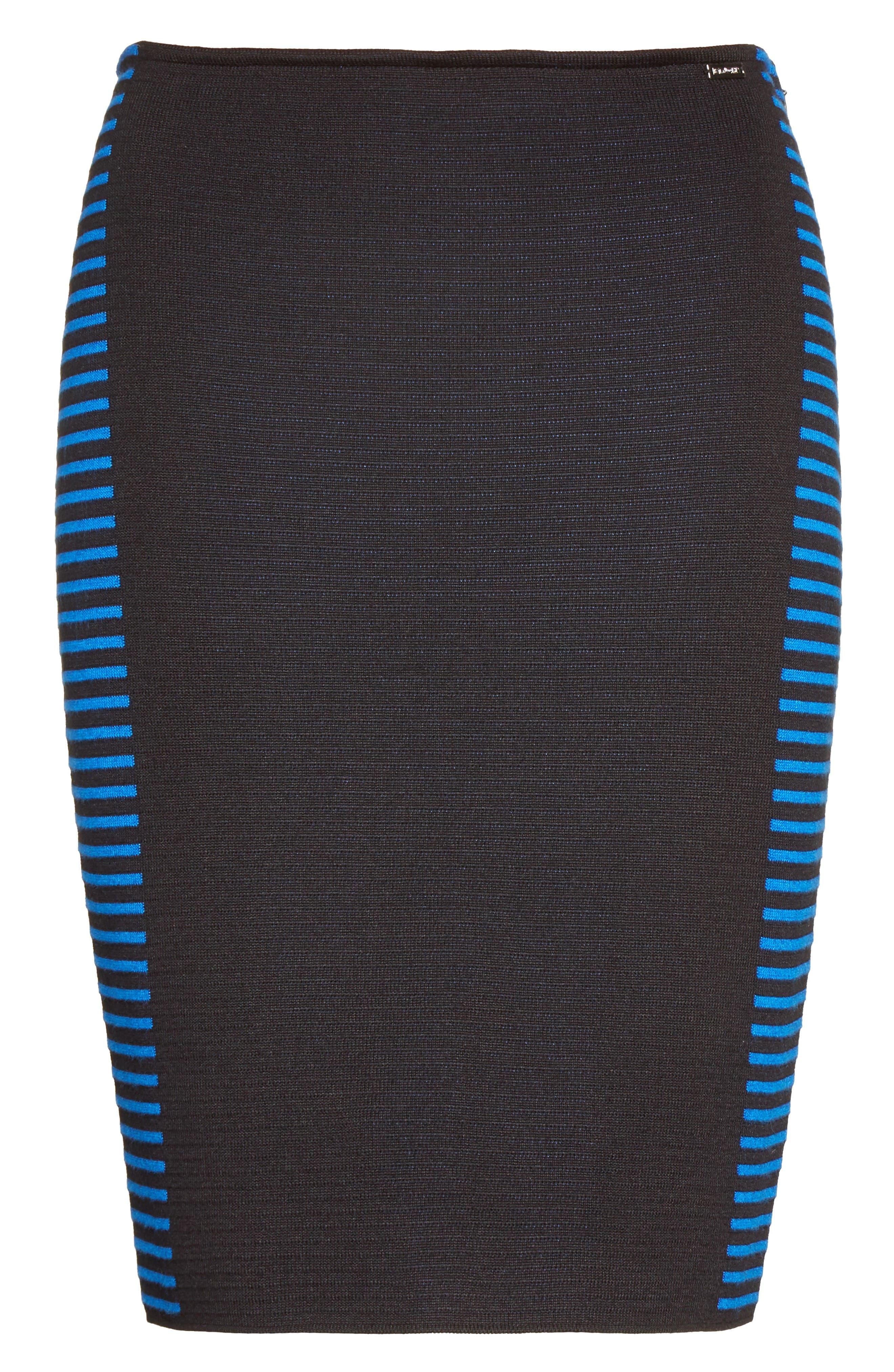 Stripe Knit Jacquard Pencil Skirt,                             Alternate thumbnail 7, color,                             Caviar/ Jaya Blue