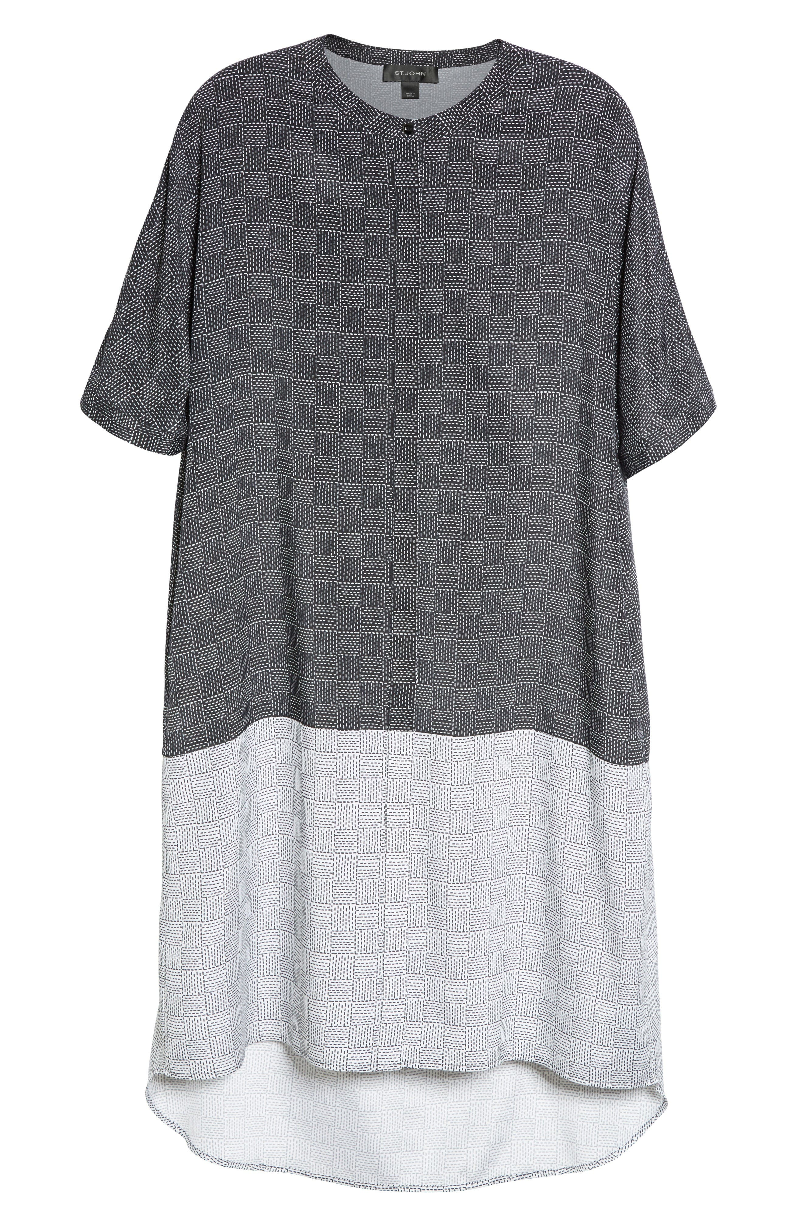 Alternate Image 6  - St. John Collection Stitching Print Stretch Silk Shirtdress