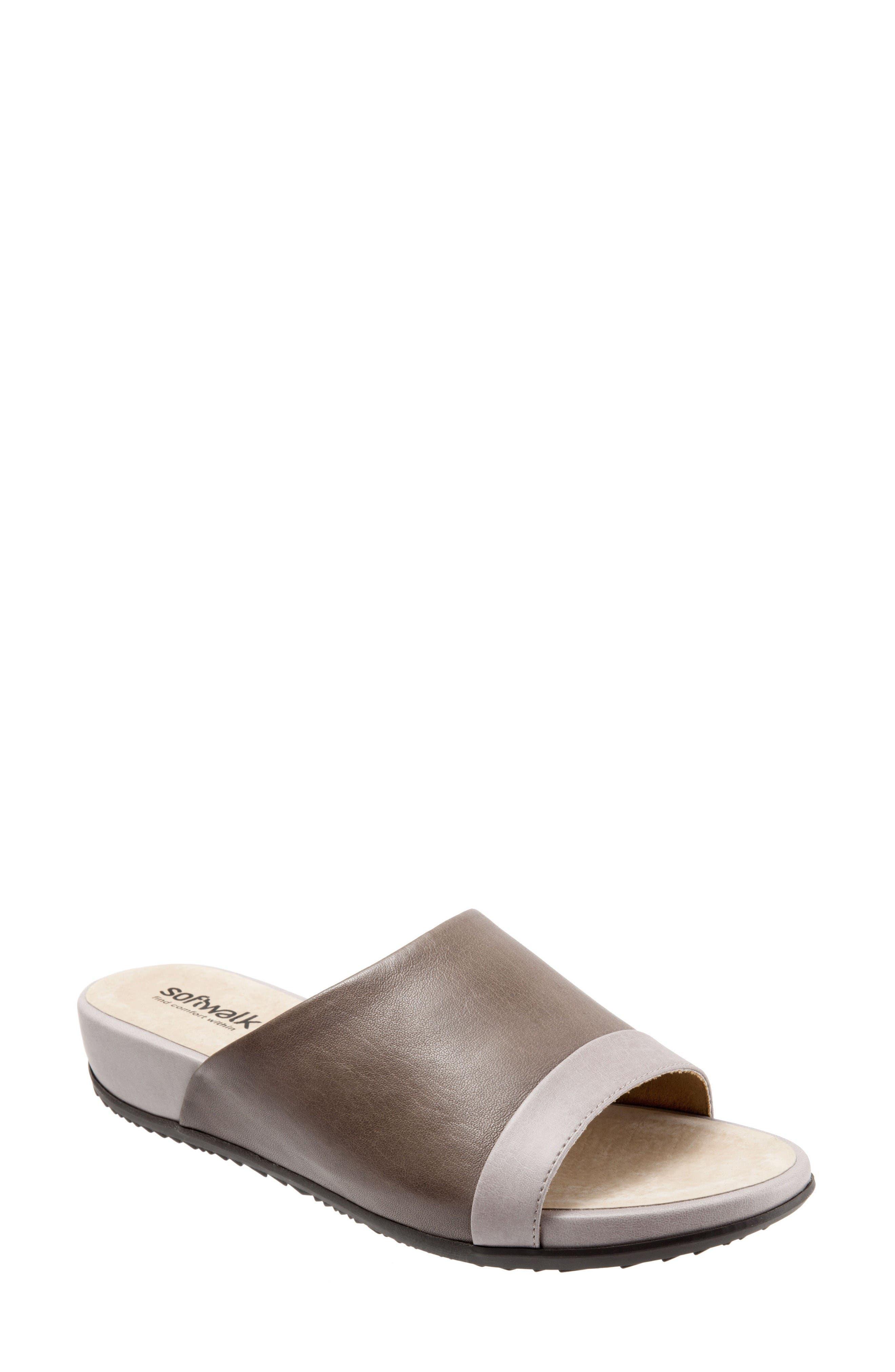 Del Mar Slide Sandal,                             Main thumbnail 1, color,                             Grey Leather