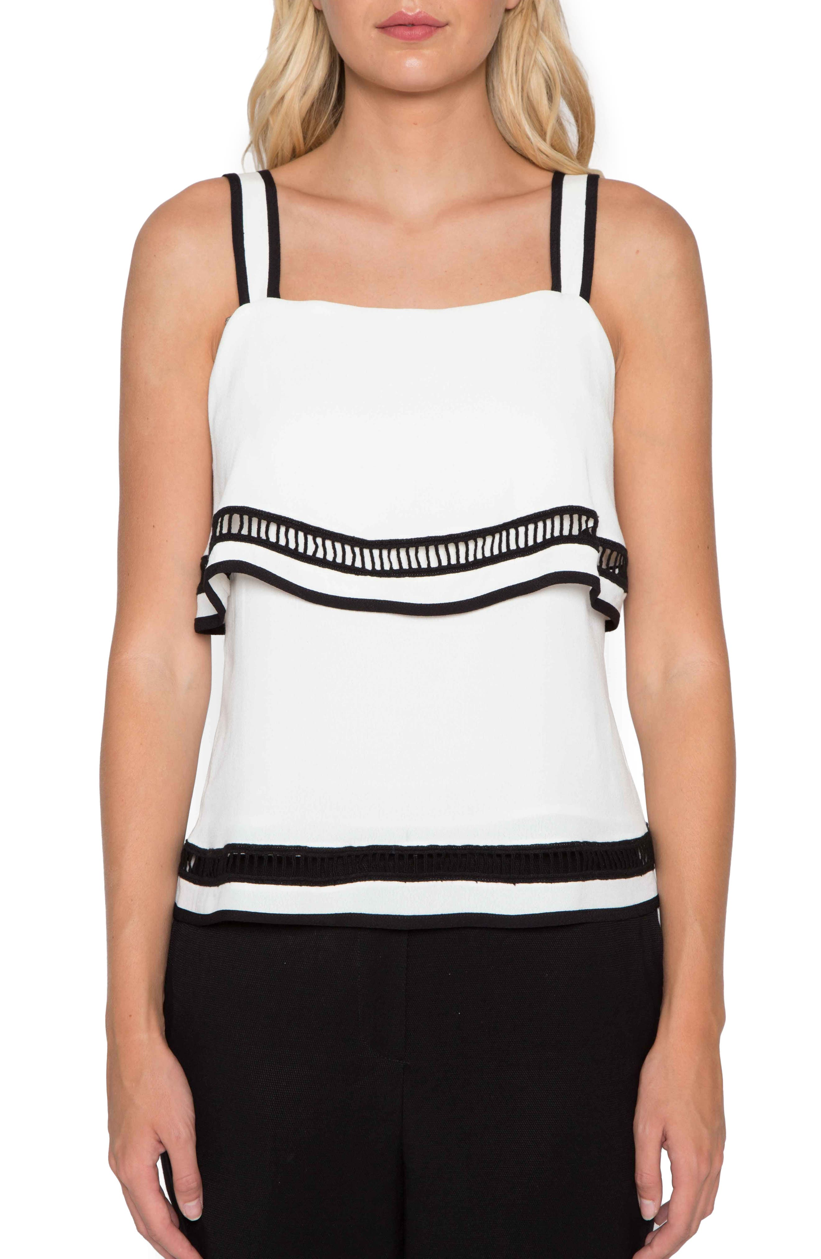 Ladder Stitch Tank,                             Main thumbnail 1, color,                             Ivory