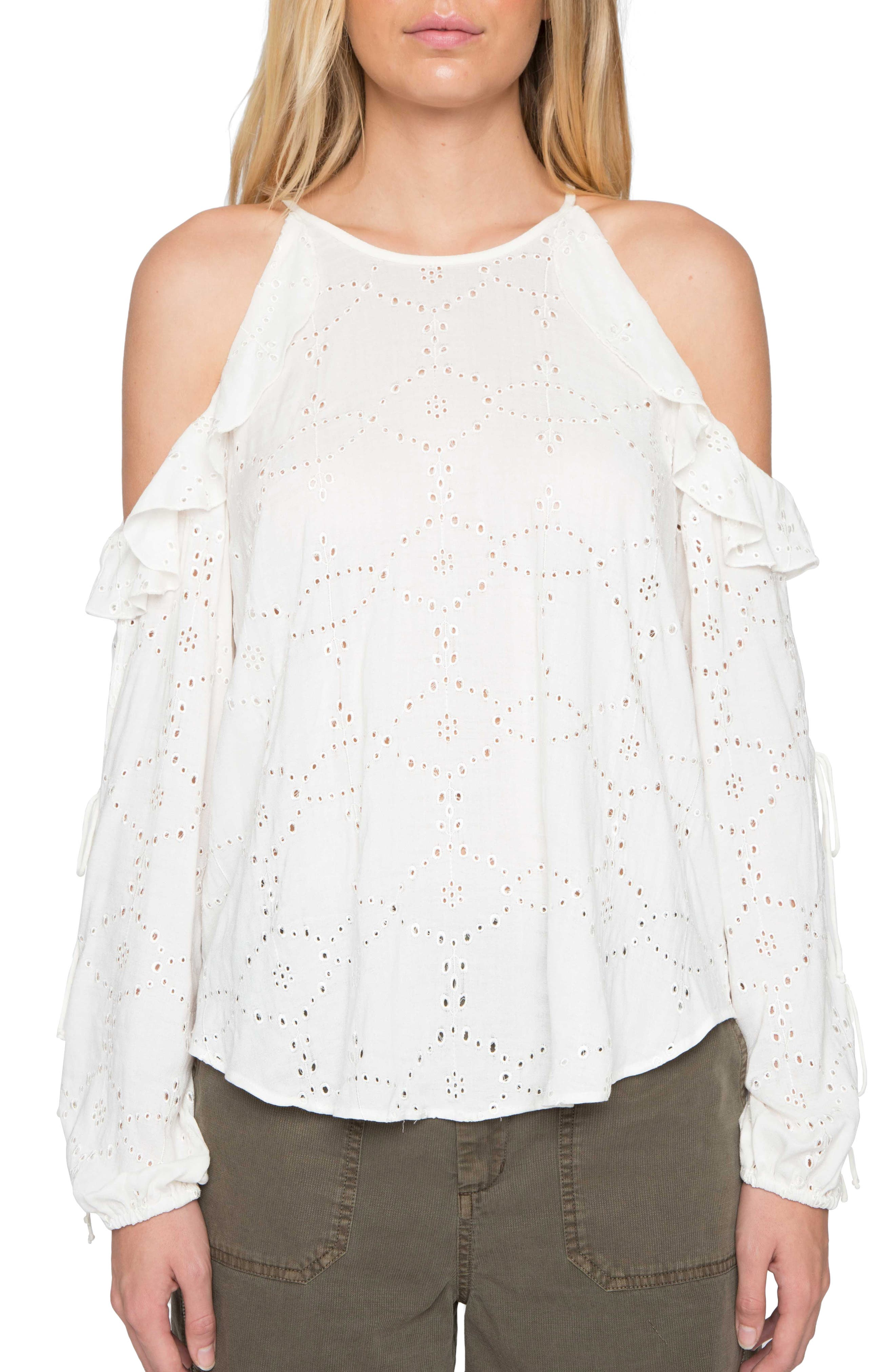 Willow & Clay Eyelet Cold Shoulder Top