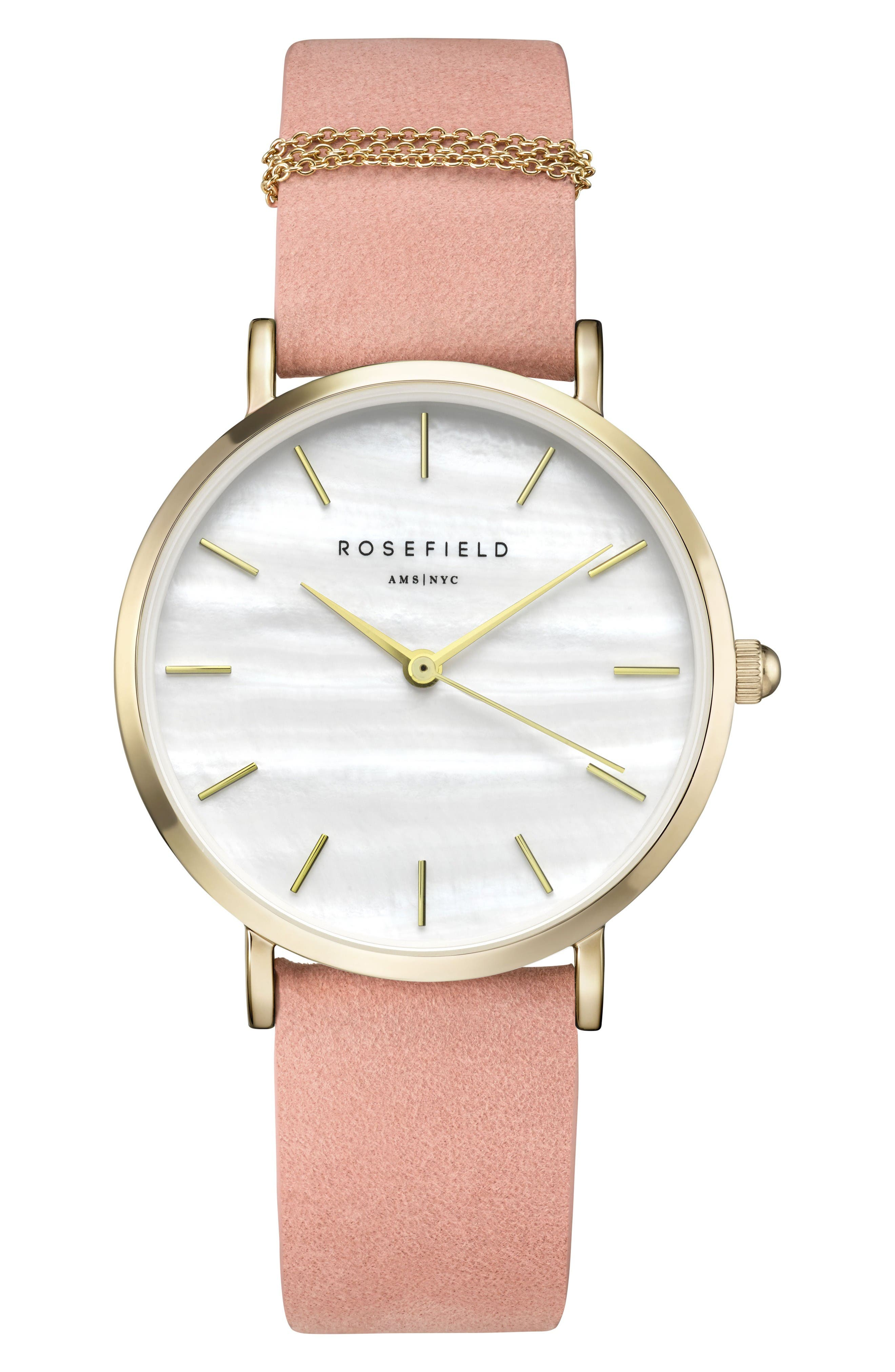 West Village Leather Strap Watch, 33mm,                         Main,                         color, Pink/ White Pearl/ Gold