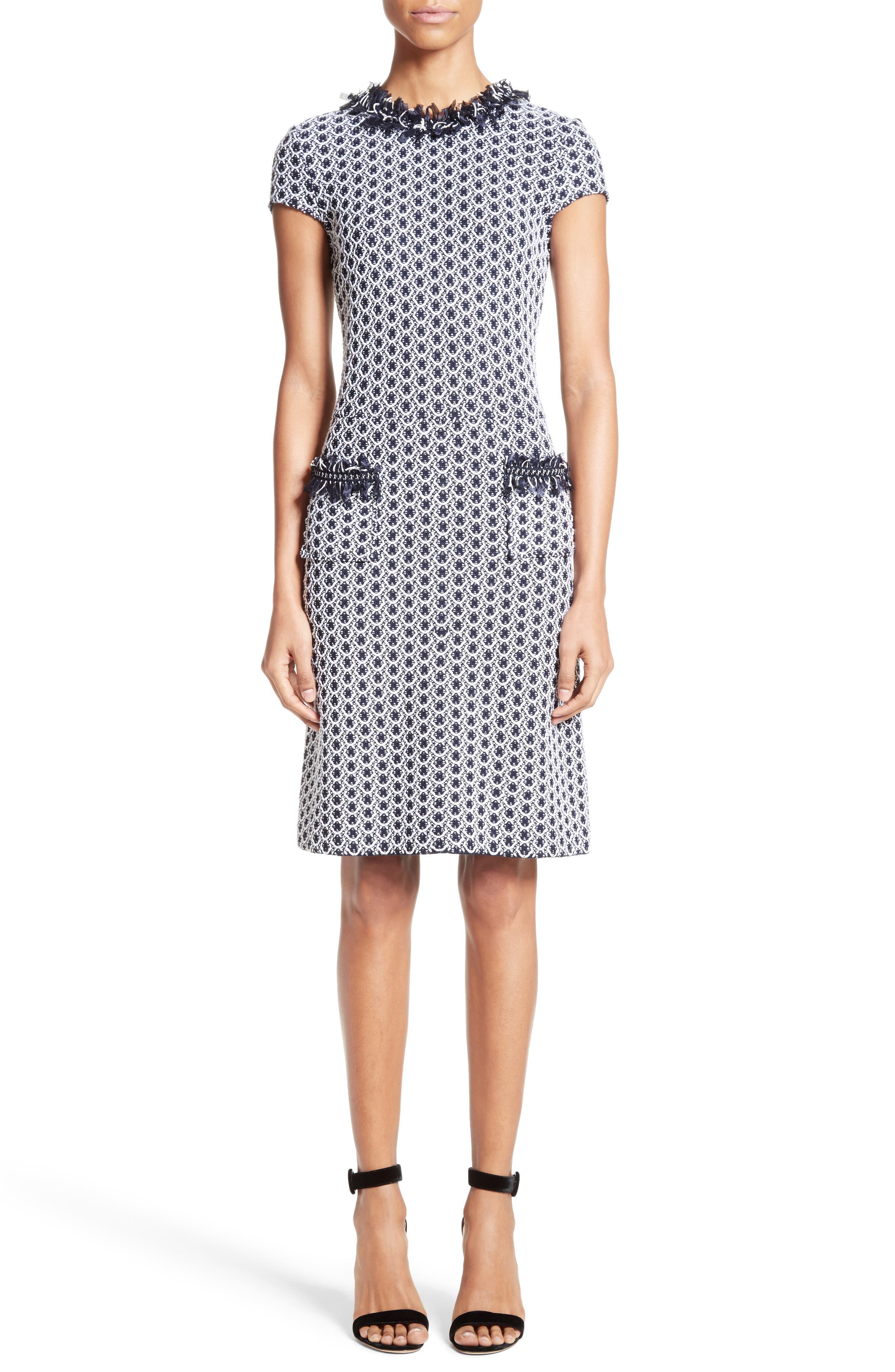 Aadi Tweed Knit Dress,                         Main,                         color, Bianco/ Navy