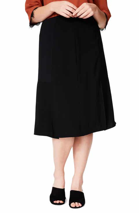 ELVI Slit A-Line Skirt (Plus Size)