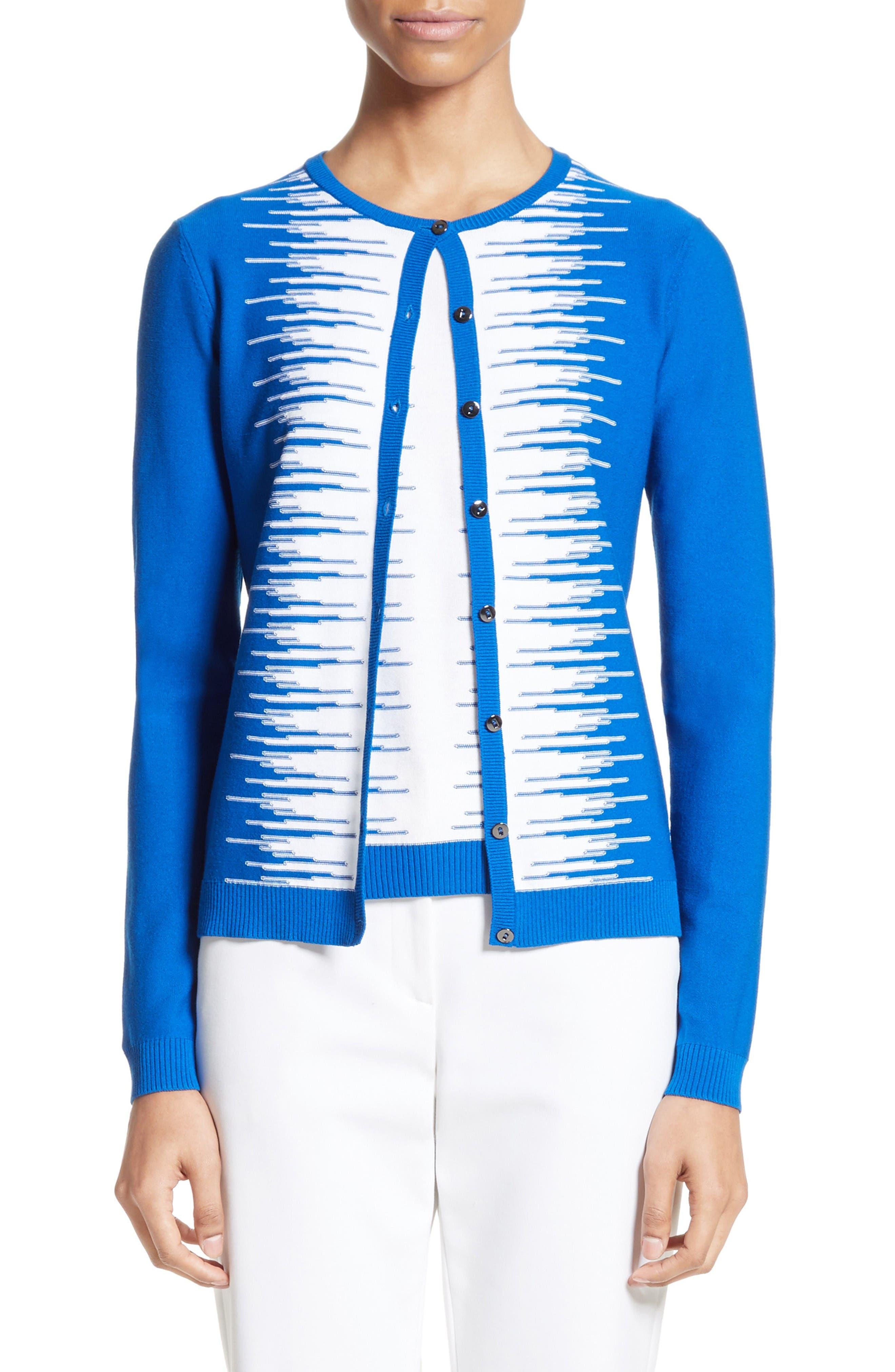 Stripe Intarsia Knit Cardigan,                             Main thumbnail 1, color,                             Jaya Blue/ Bianco