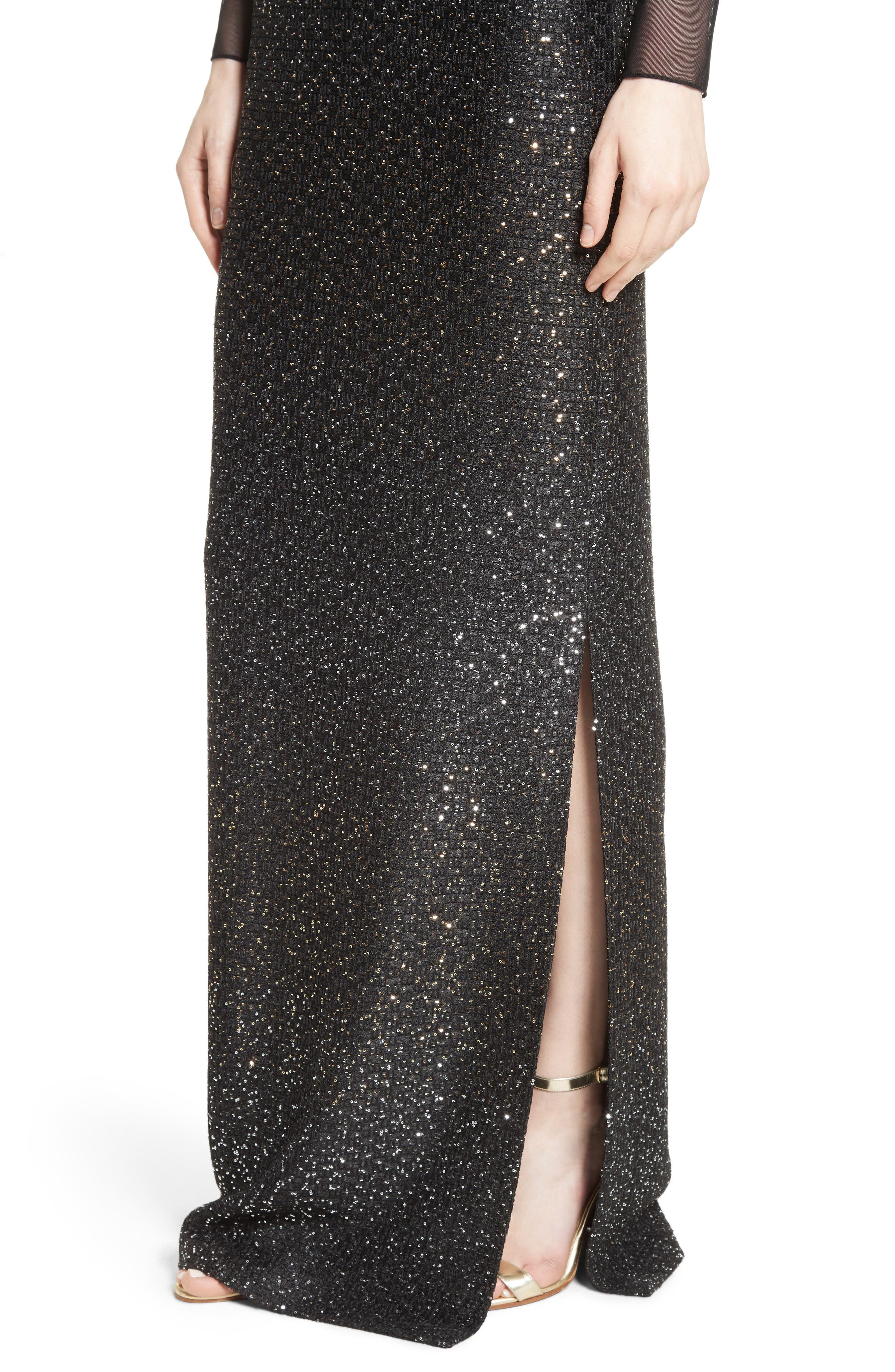 Sequin Illusion Yoke Gown,                             Alternate thumbnail 6, color,                             Caviar/Gold