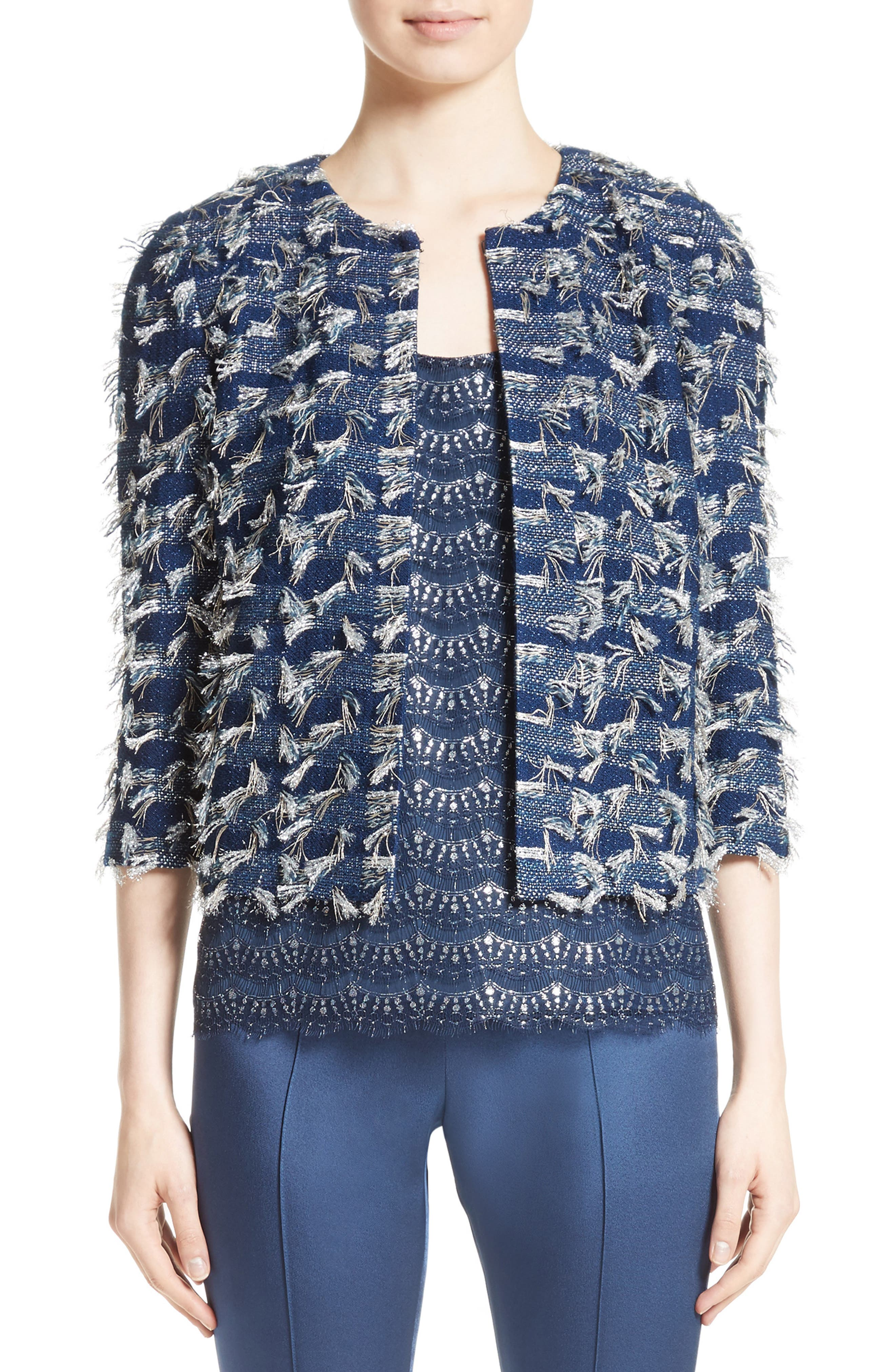 Main Image - St. John Collection Lackshan Fil Coupé Tweed Jacket
