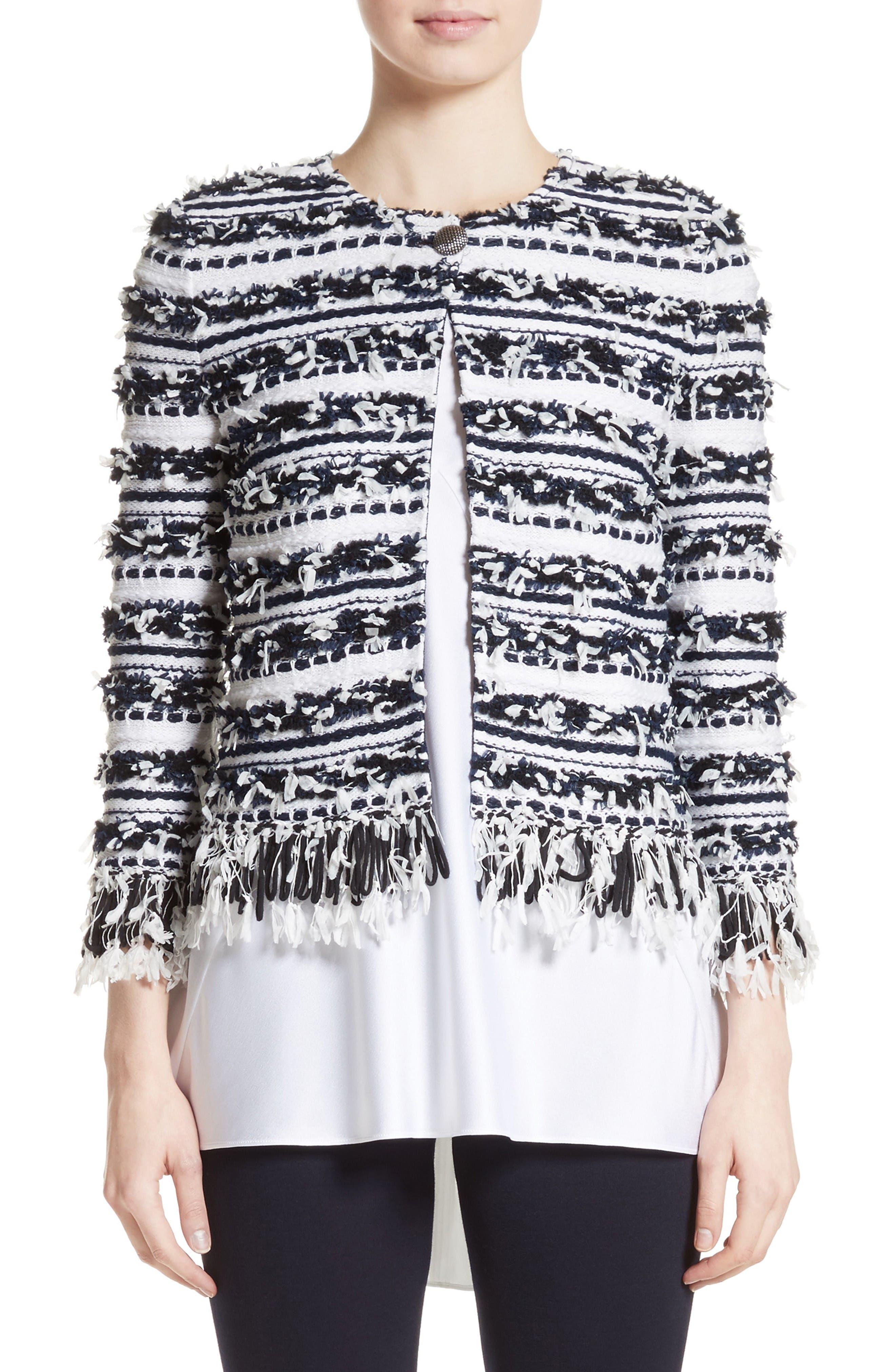 Adel Stripe Fringe Jacket,                         Main,                         color, Bianco/ Navy