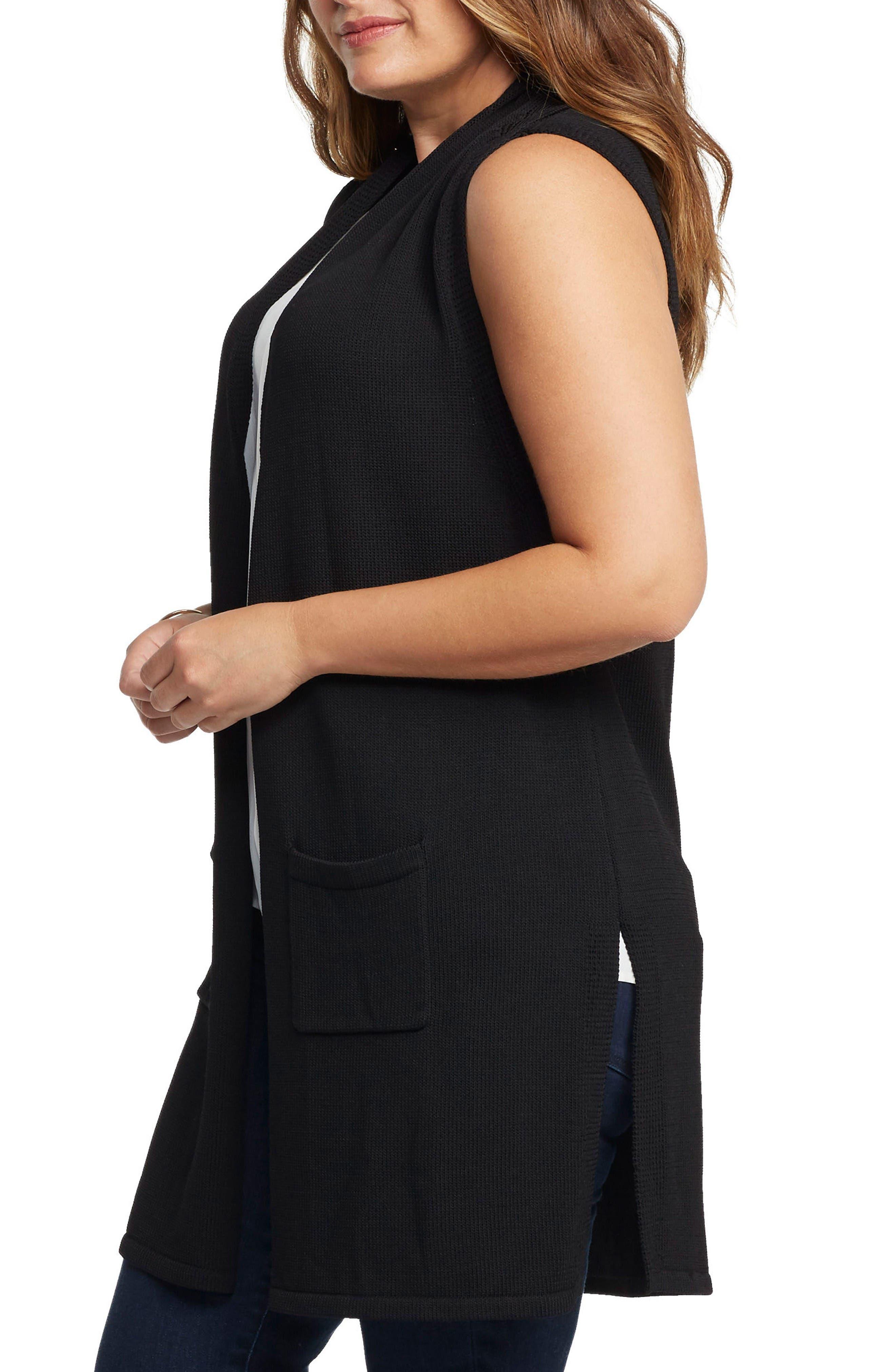 Holly Knit Open Front Vest,                             Alternate thumbnail 3, color,                             Black