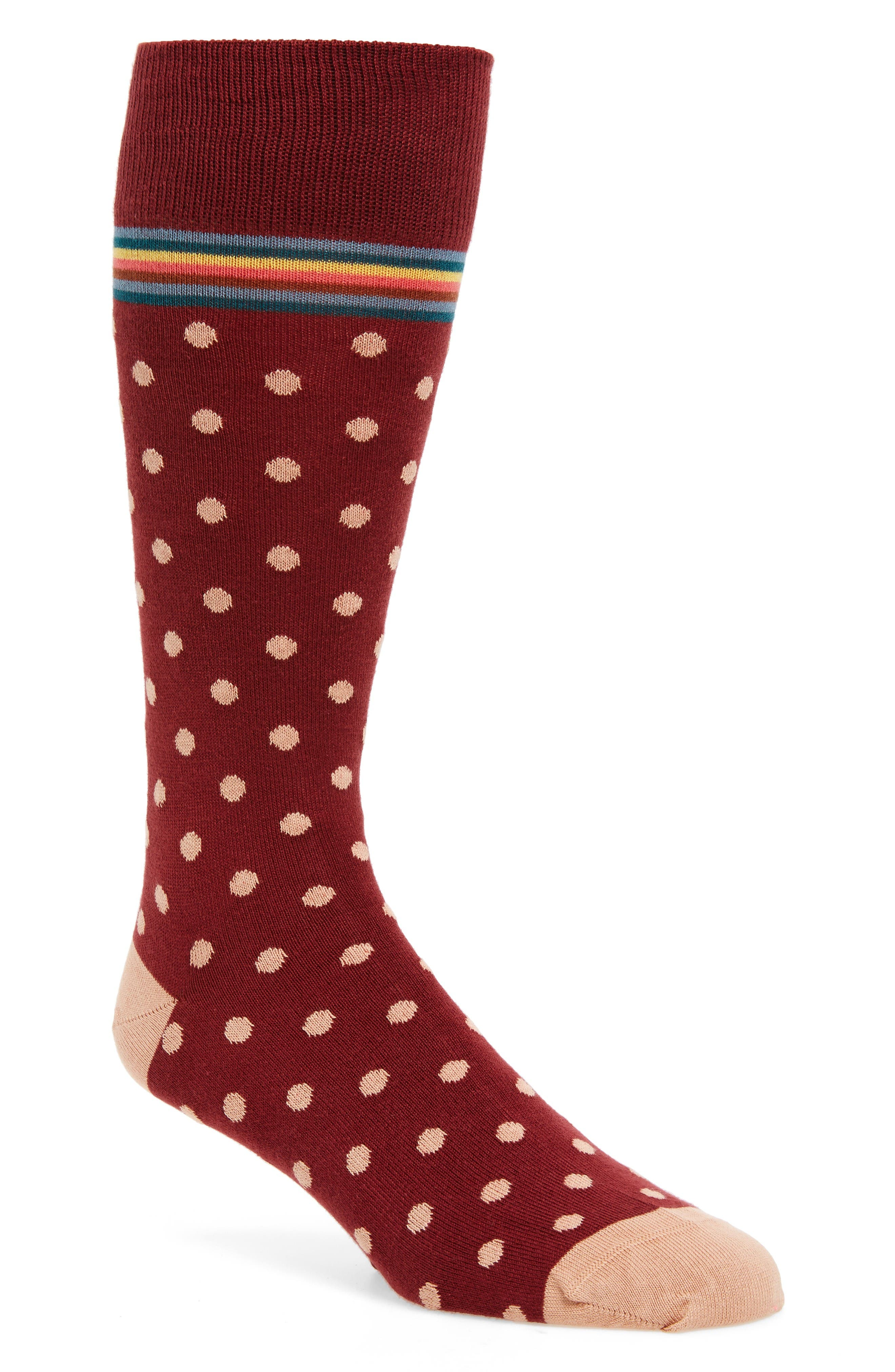 Signature Polka Dot Socks,                         Main,                         color, Red