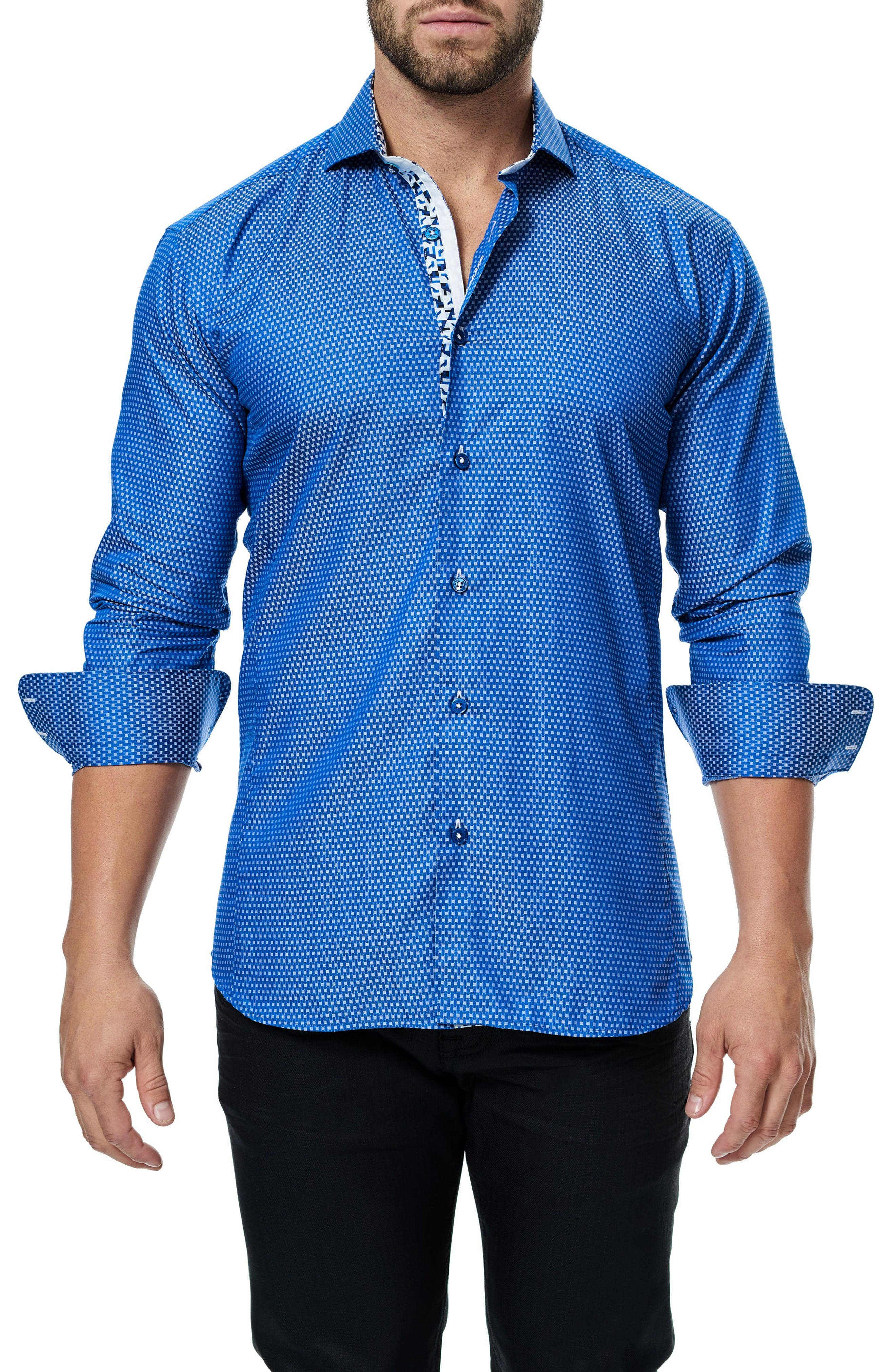 Wall Street Jacquard Sport Shirt,                             Main thumbnail 1, color,                             Medium Blue
