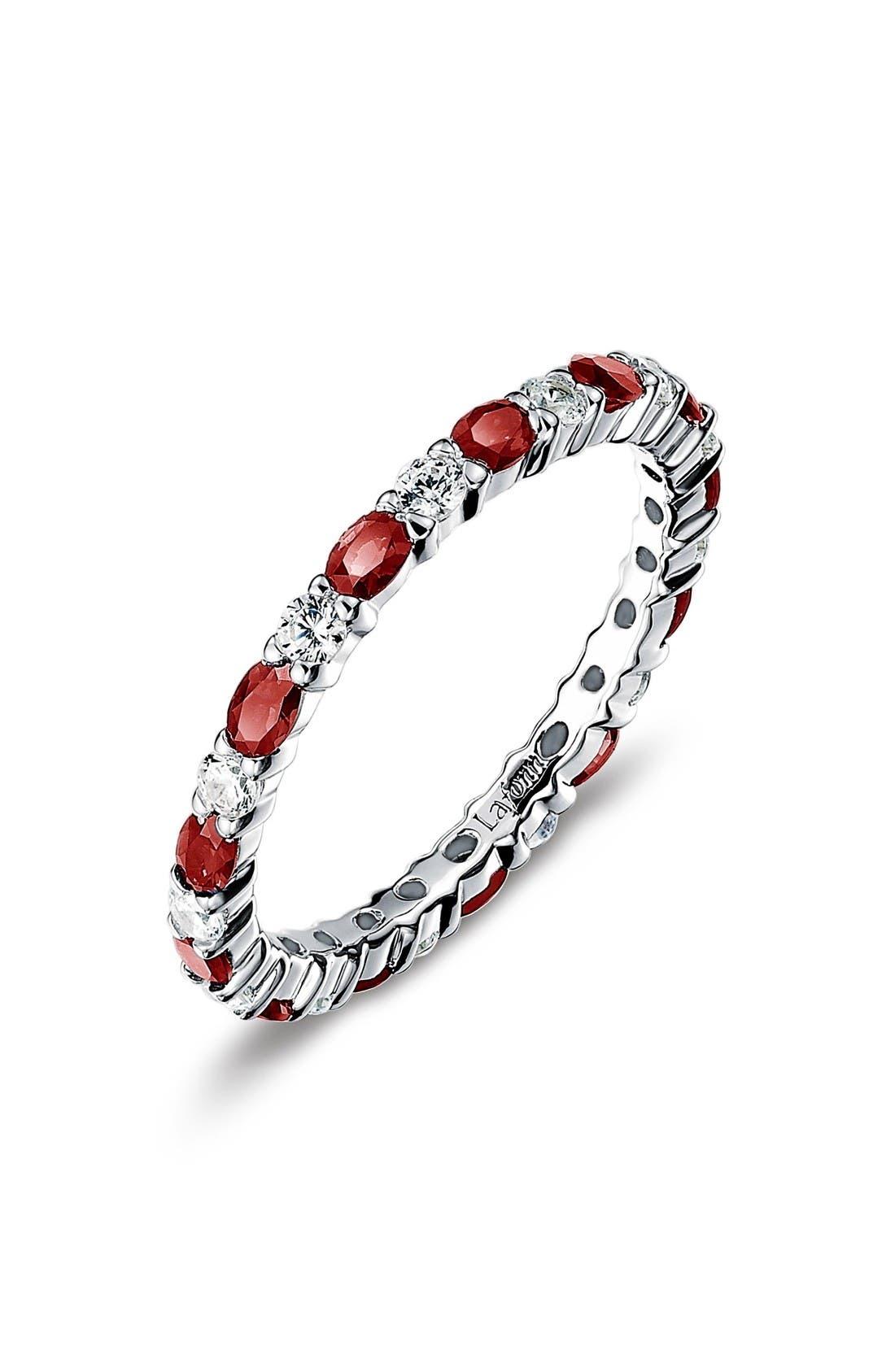 Simulated Diamond Birthstone Band Ring,                             Main thumbnail 1, color,                             January / Garnet