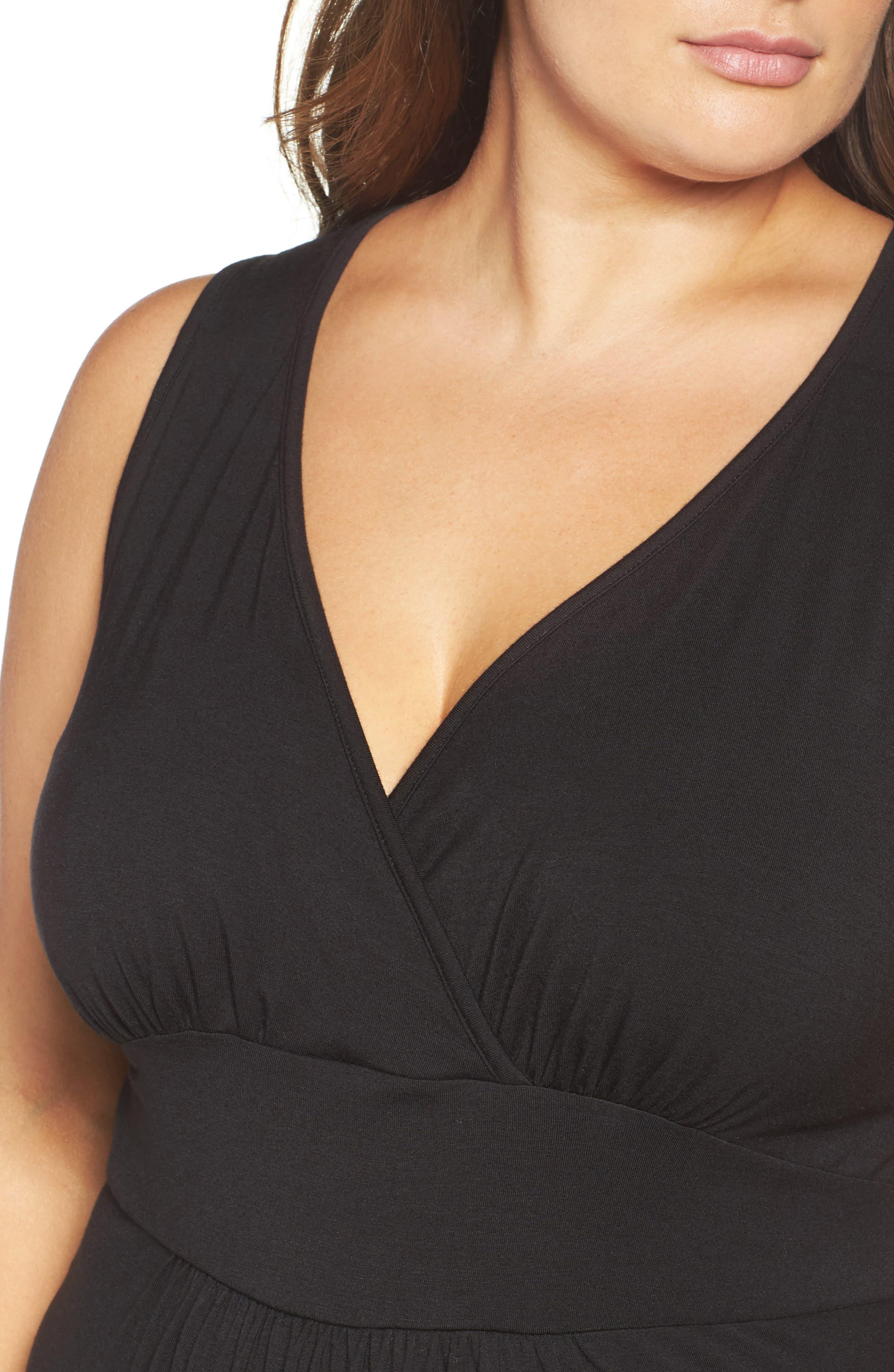 Surplice Maxi Dress,                             Alternate thumbnail 4, color,                             Black