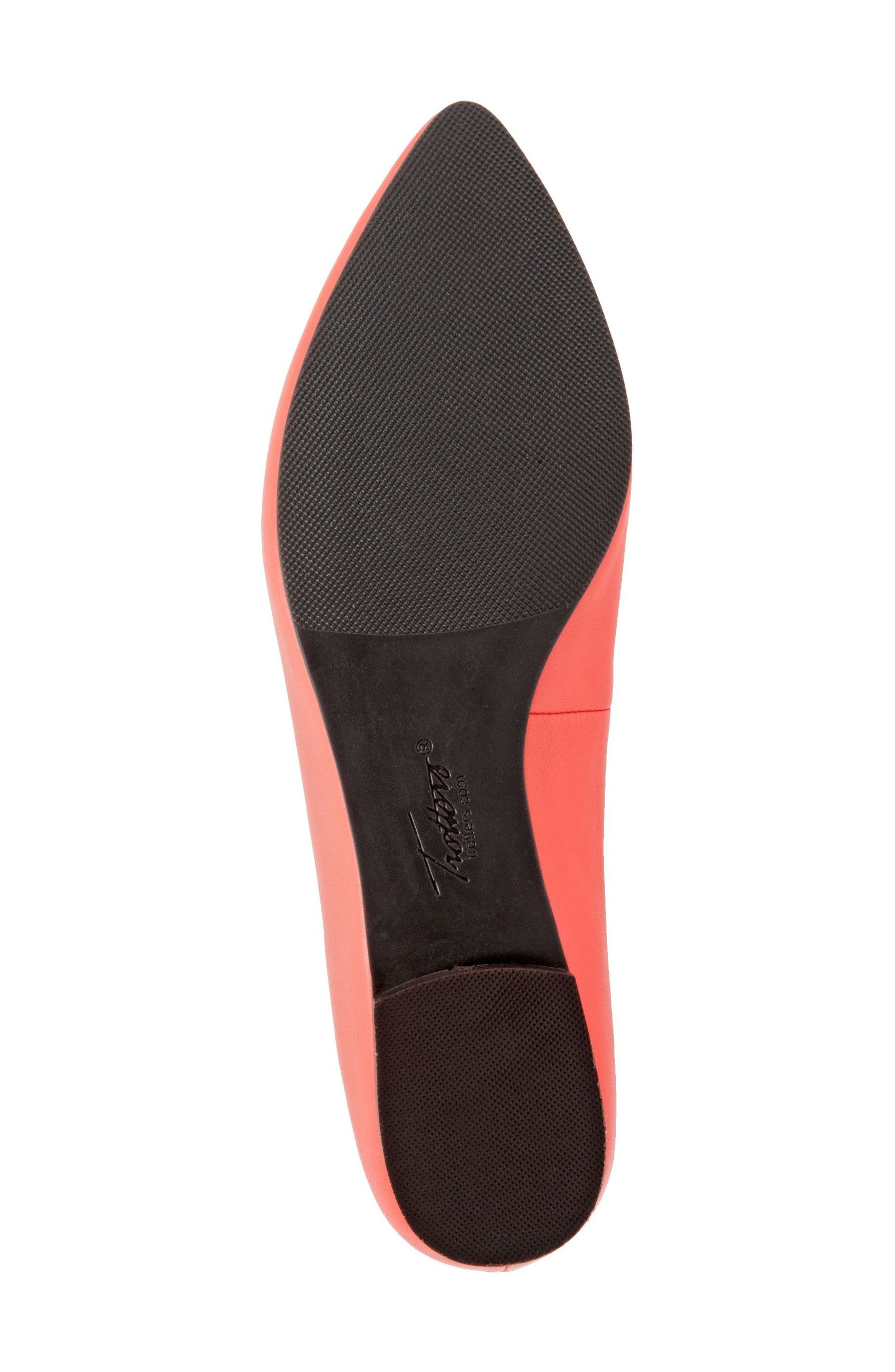 Harlowe Pointy Toe Loafer,                             Alternate thumbnail 4, color,                             Coral Leather