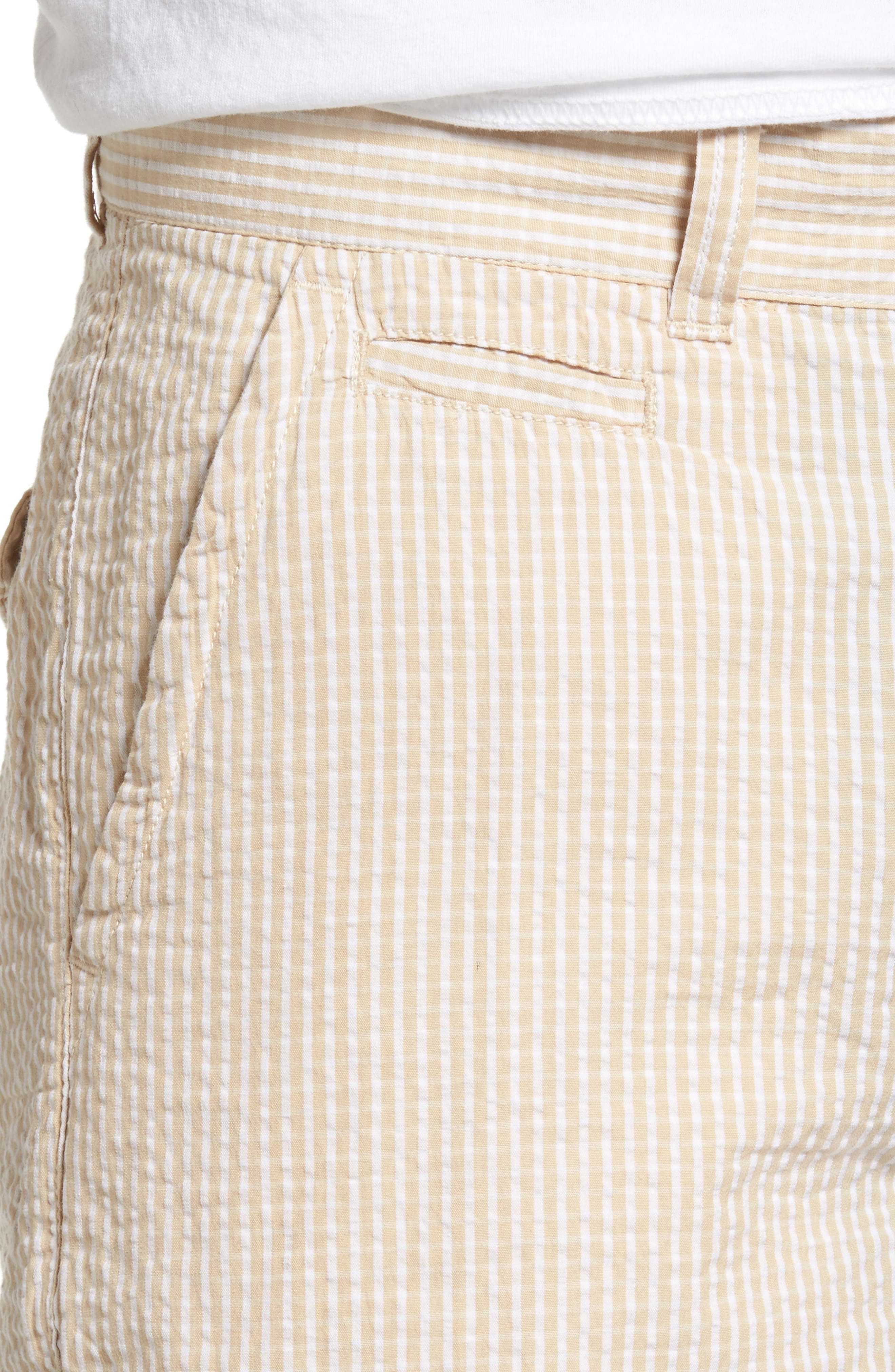 Stripe Seersucker Shorts,                             Alternate thumbnail 4, color,                             Tan