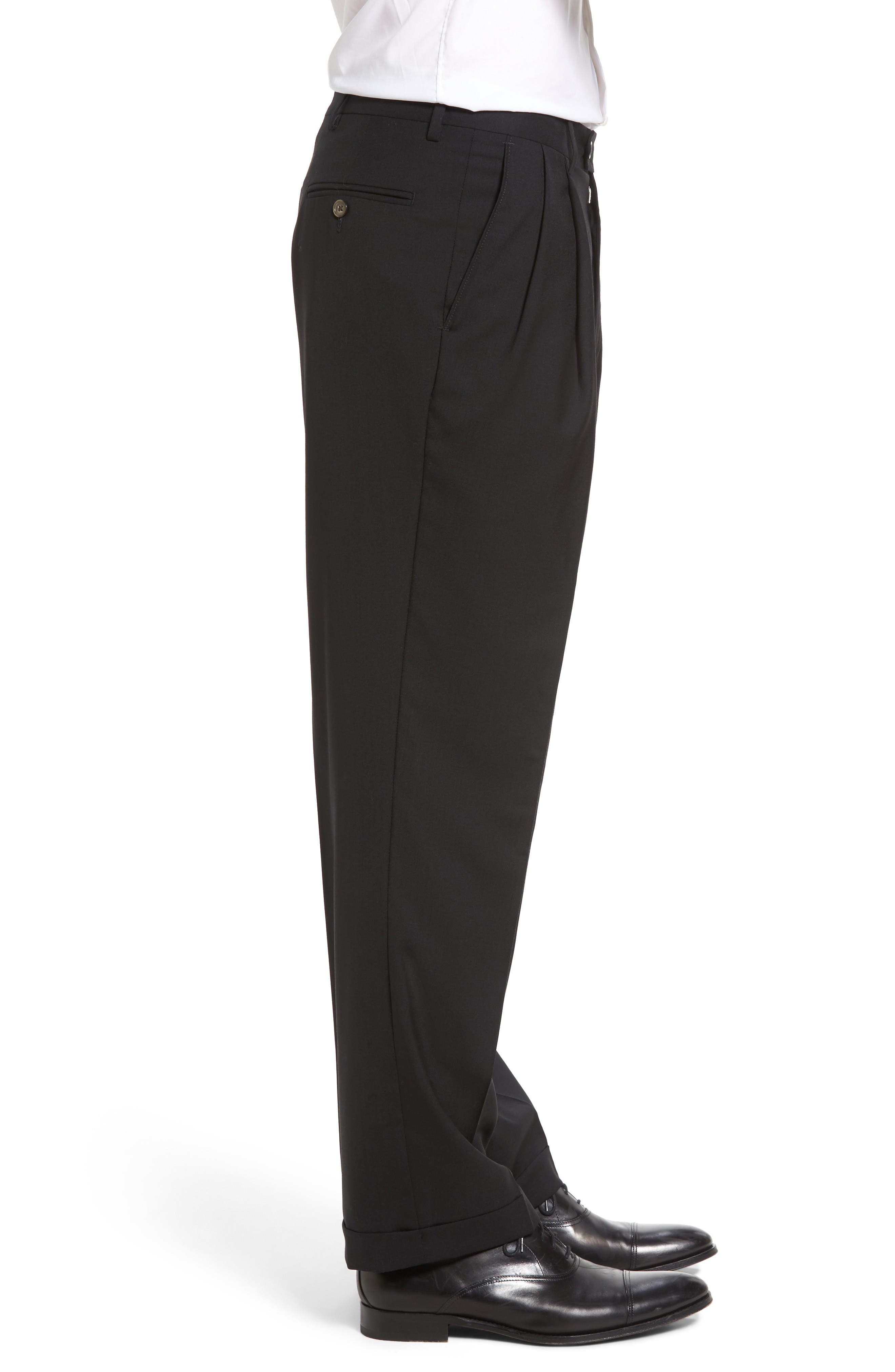 Pleated Solid Wool Trousers,                             Alternate thumbnail 3, color,                             Black