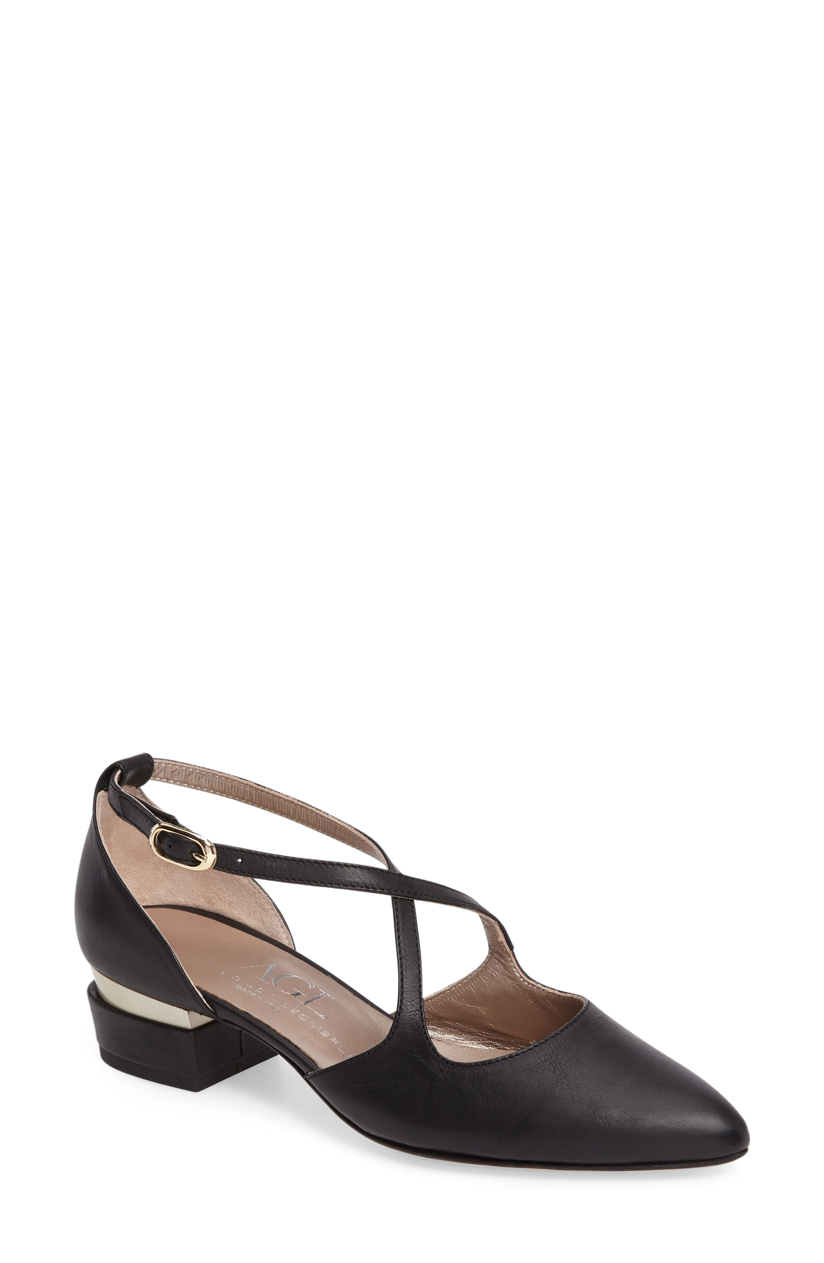 Split Heel d'Orsay Pump,                             Main thumbnail 1, color,                             Black Leather