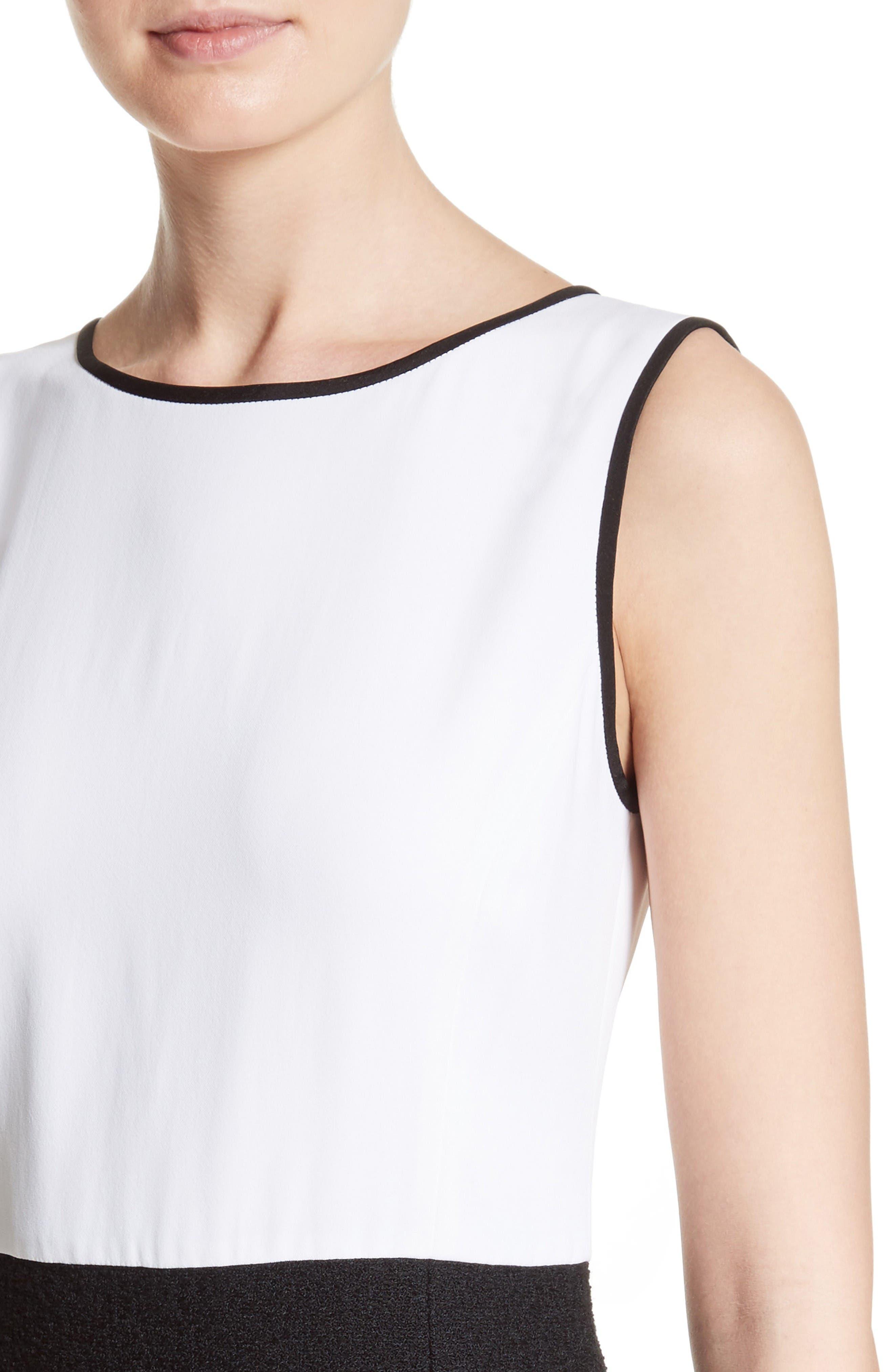 Cady Bodice Clair Knit Dress,                             Alternate thumbnail 4, color,                             Bianco/ Caviar