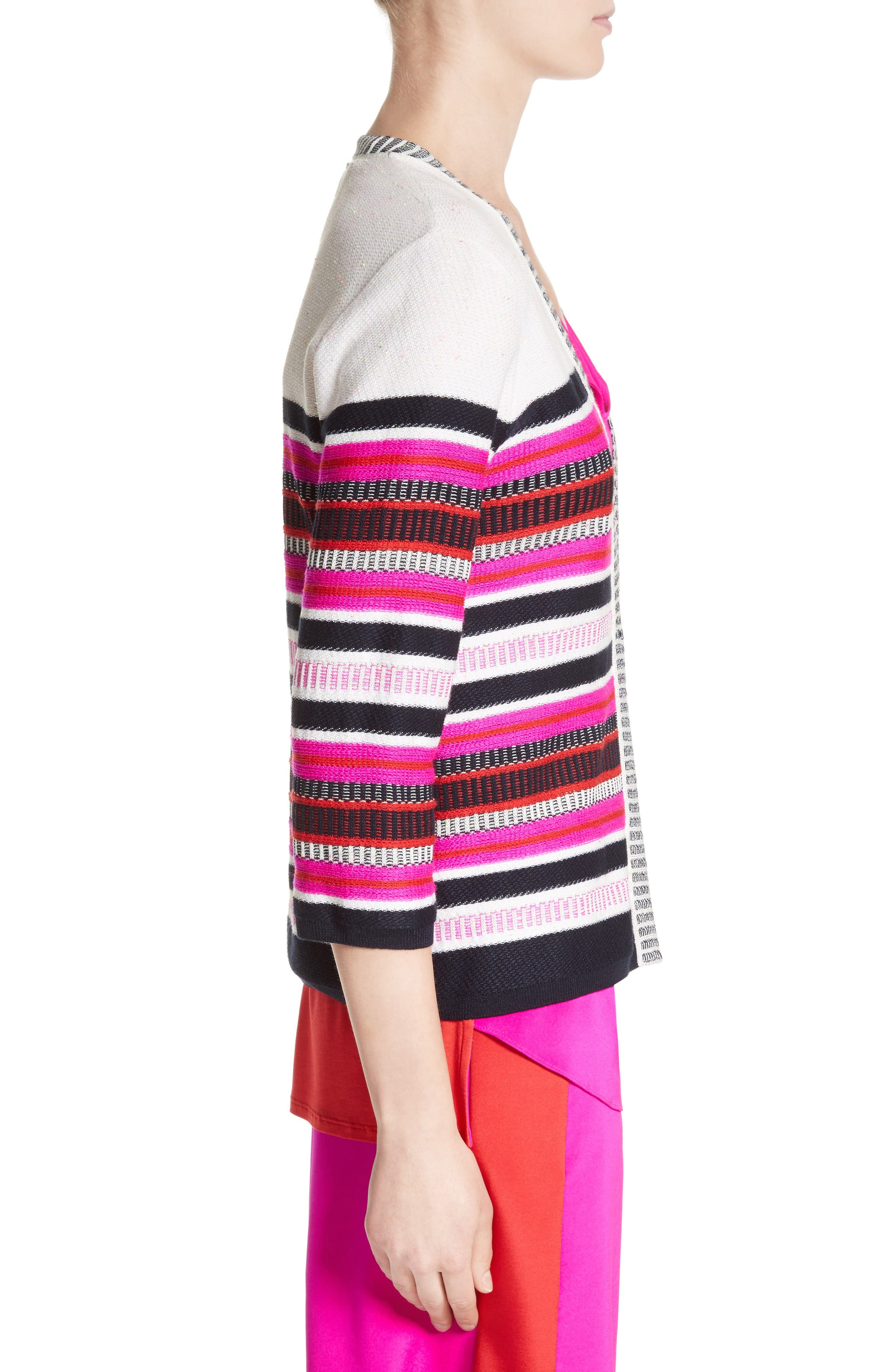 Jacquard Weave Stitch Cardigan,                             Alternate thumbnail 3, color,                             Bianco Multi