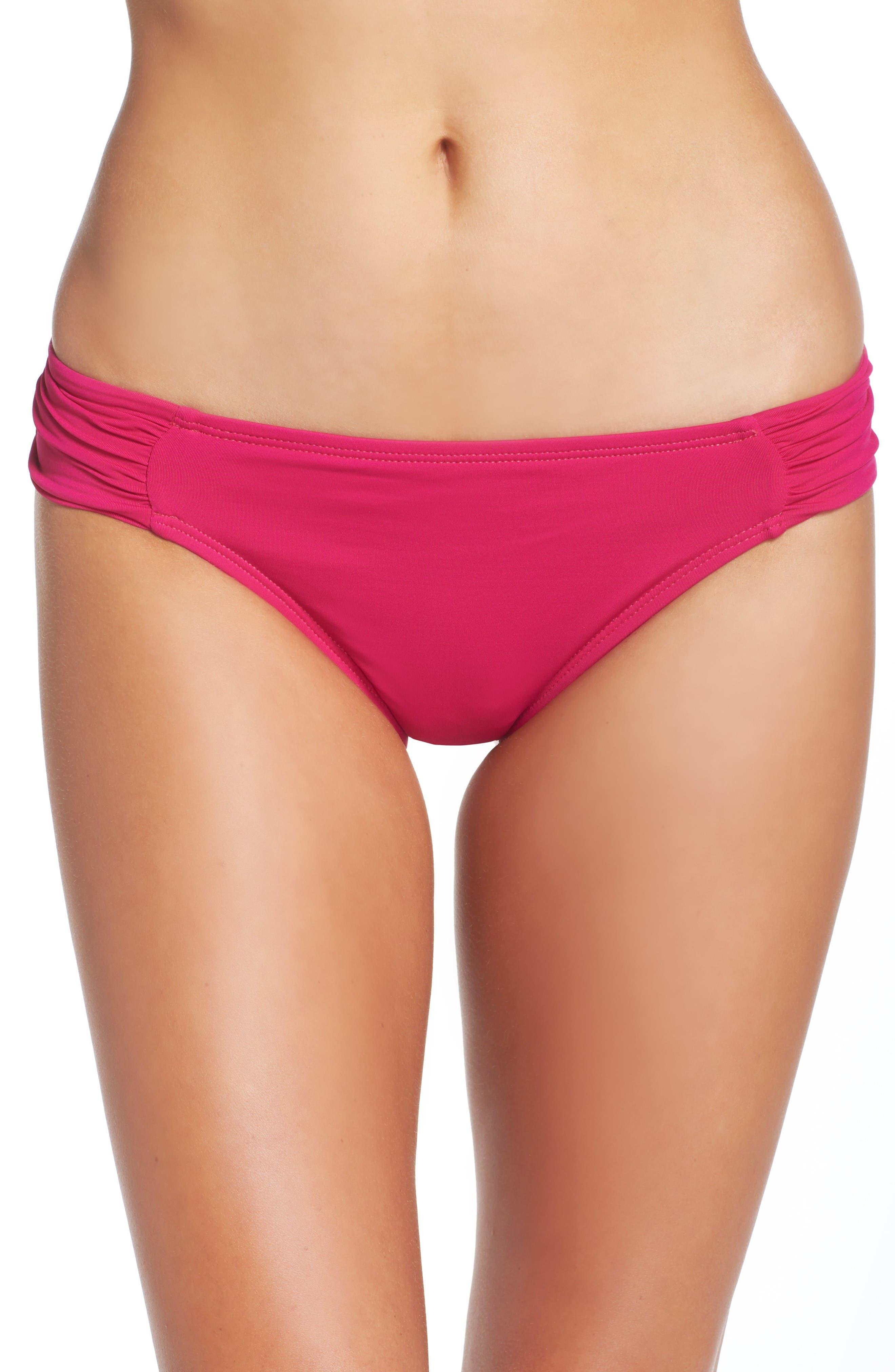 Island Goddess Hipster Bikini Bottoms,                         Main,                         color, Berry