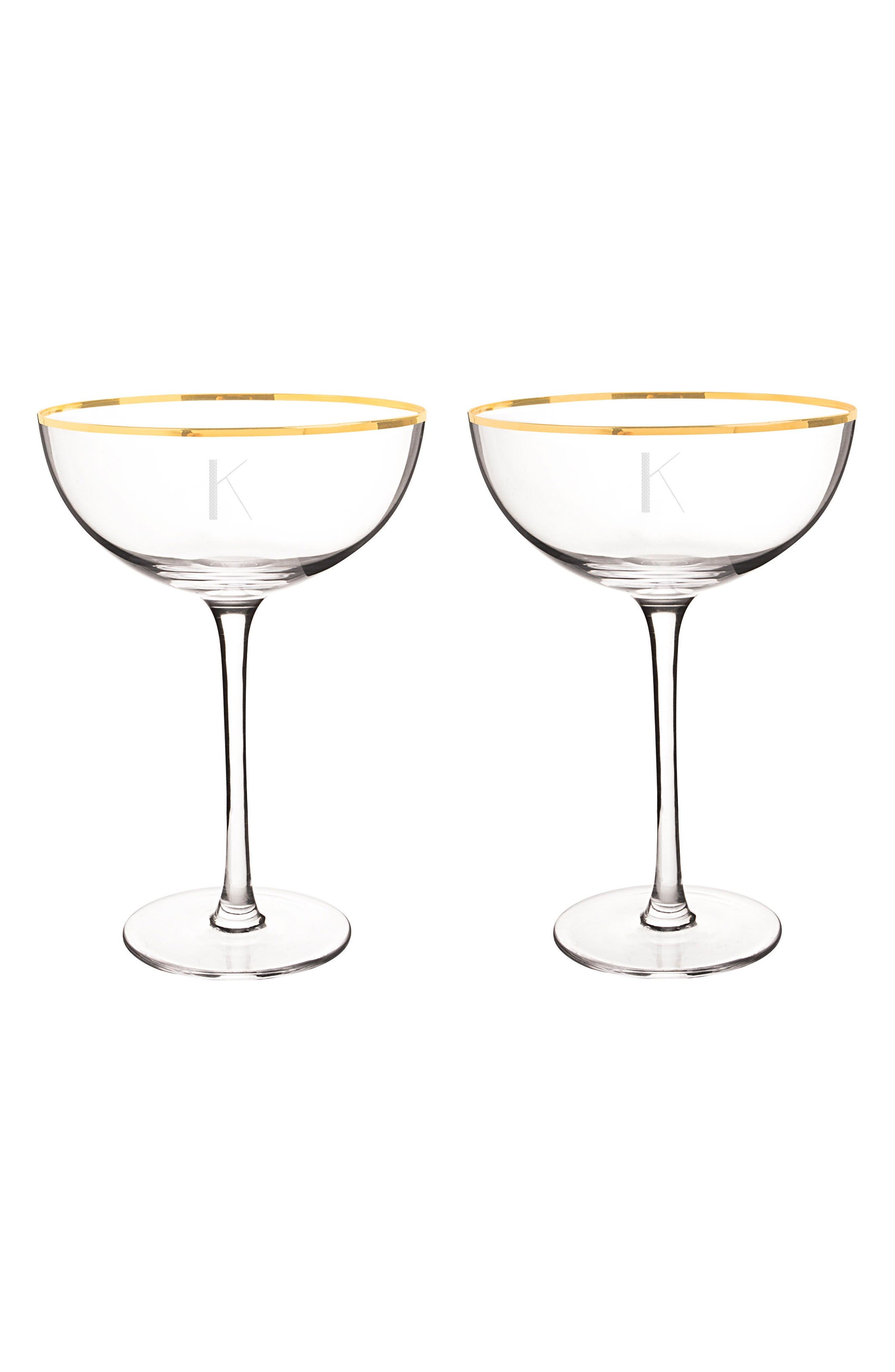 Set of 2 Gold Rim Monogram Champagne Flutes,                         Main,                         color, Gold-K