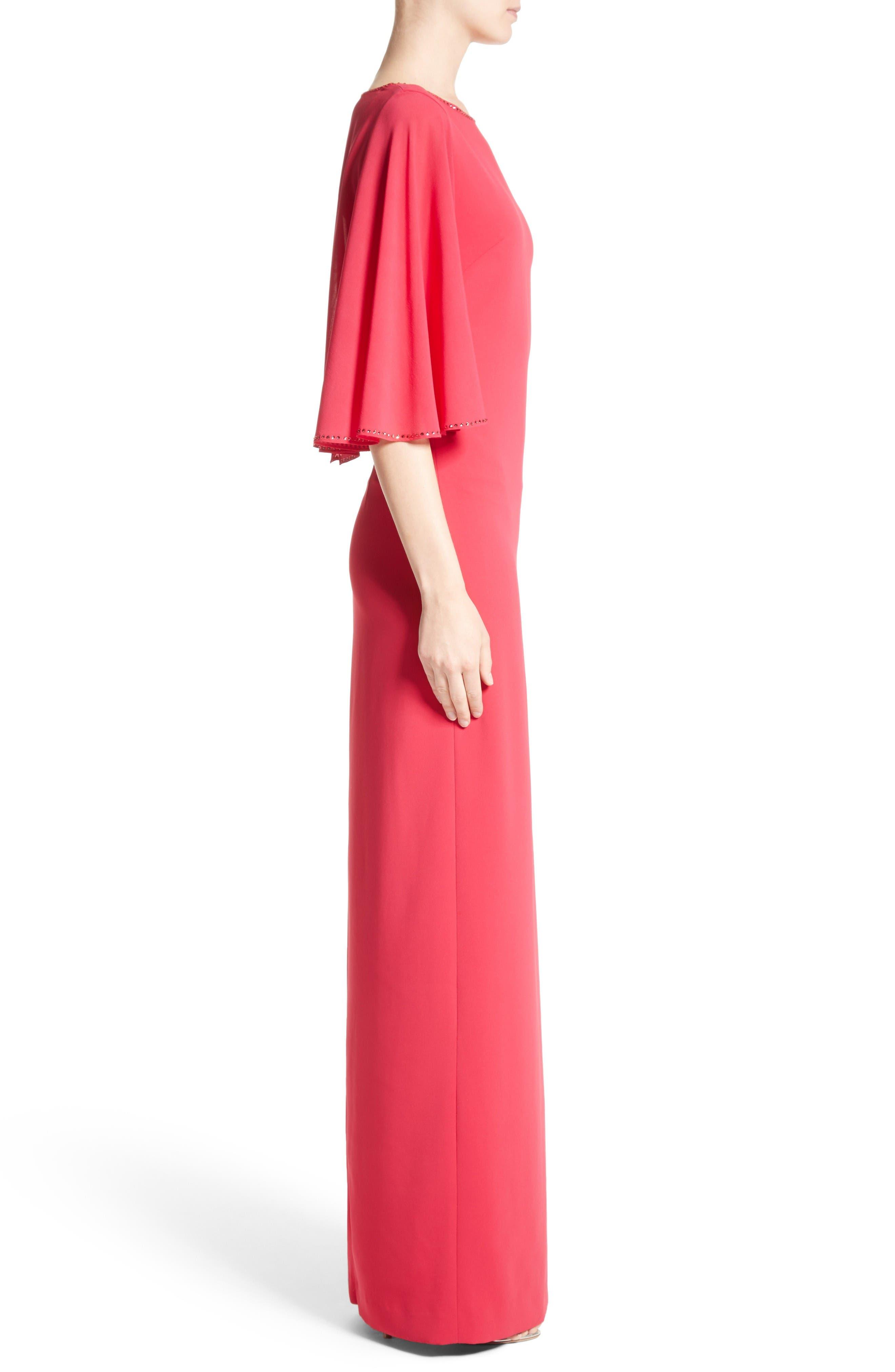 Alternate Image 4  - St. John Evening Embellished Stretch Cady Cape Back Gown