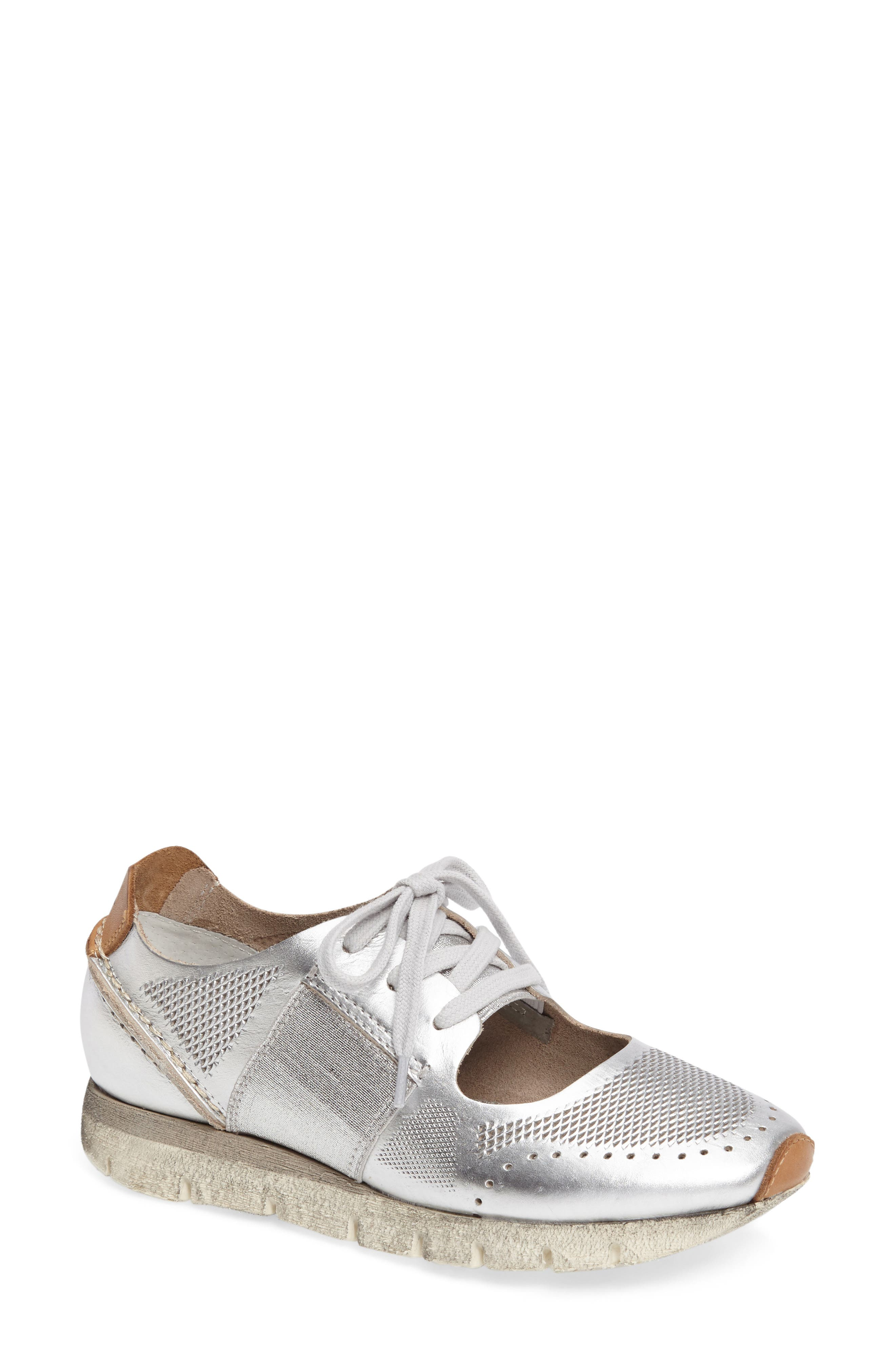 Star Dust Cutout Sneaker,                         Main,                         color, Silver Leather