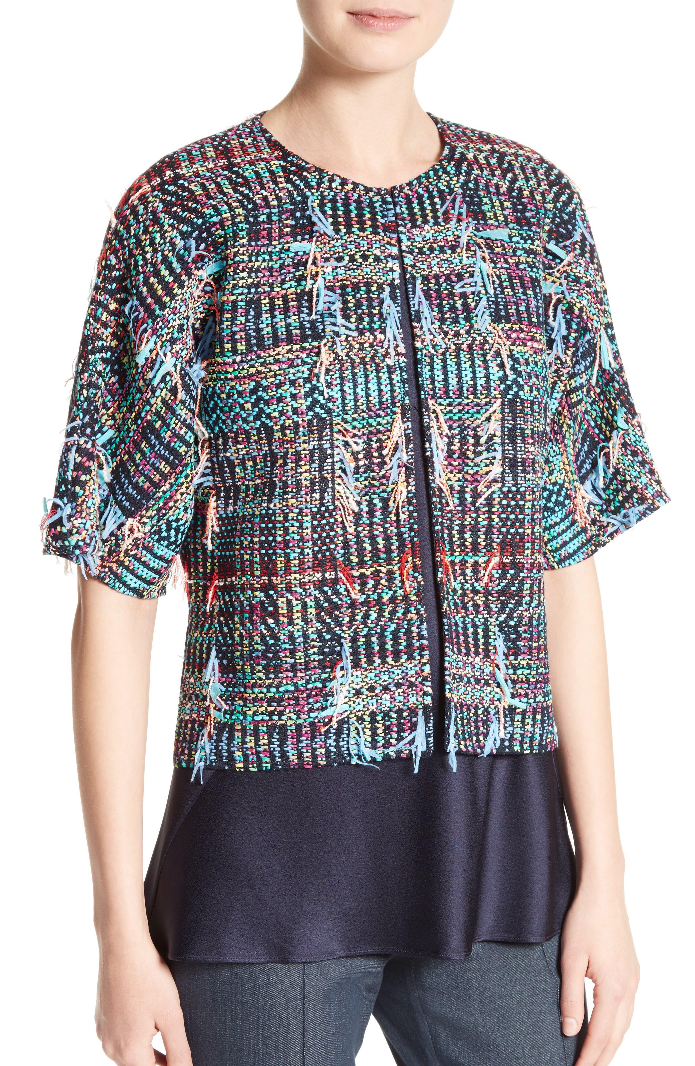 Dara Fringe Knit Jacket,                             Alternate thumbnail 4, color,                             Navy Multi