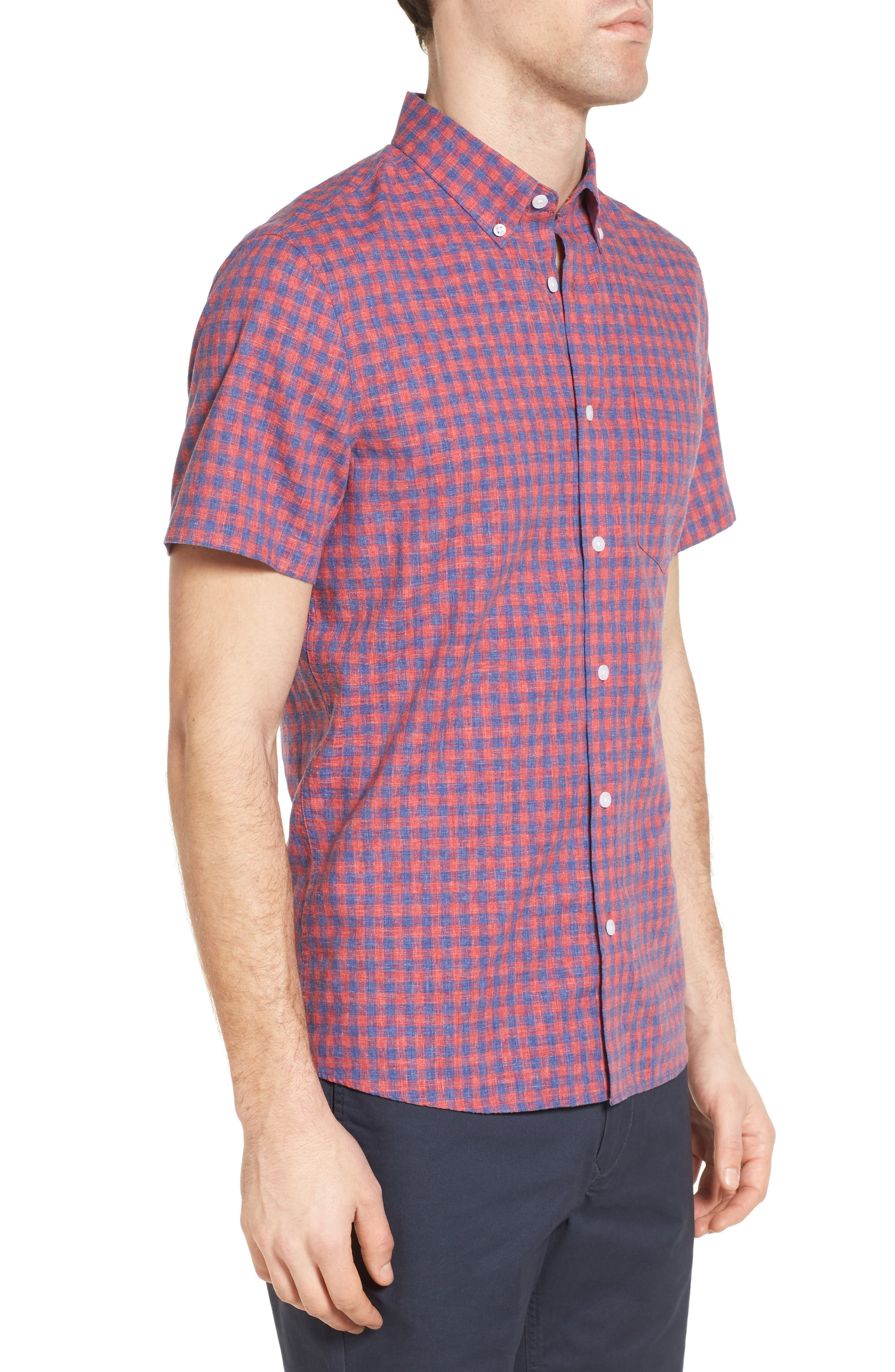 Slim Fit Gingham Check Sport Shirt,                             Alternate thumbnail 3, color,                             Red Chateaux Gingham