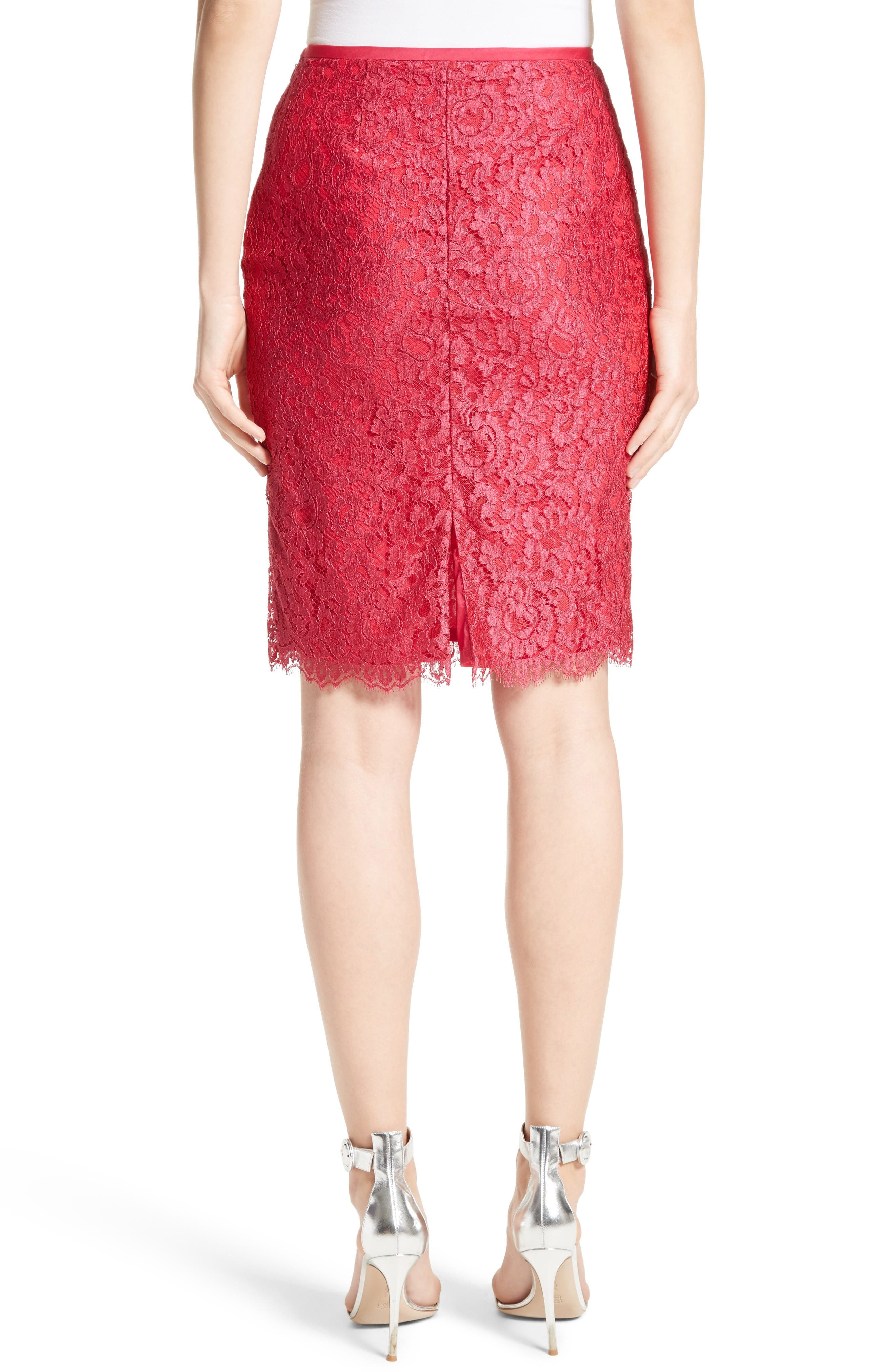 Alternate Image 2  - St. John Collection Double Scallop Paisley Lace Skirt