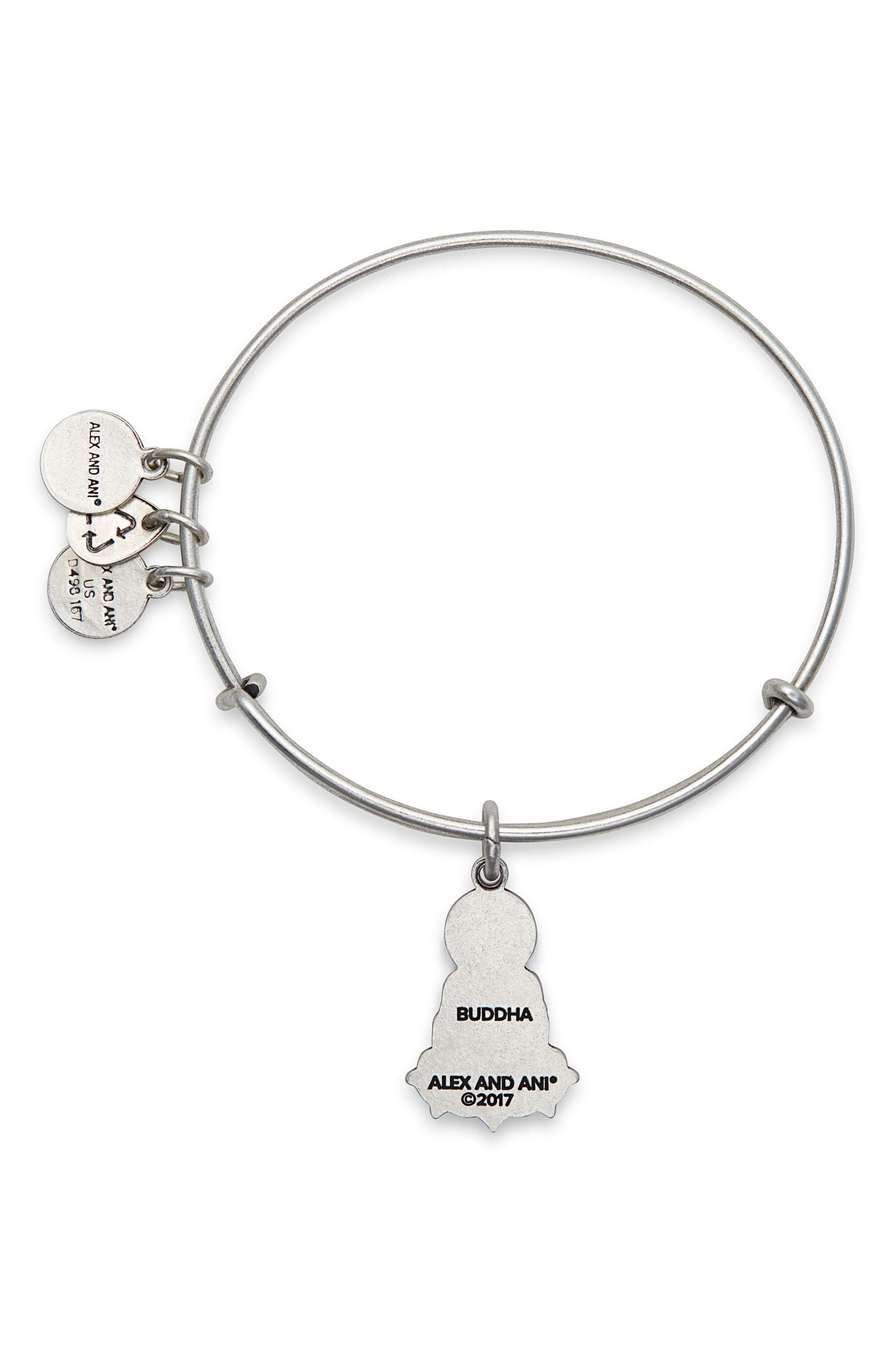 Buddha Adjustable Wire Bangle,                             Alternate thumbnail 2, color,                             Russian Silver