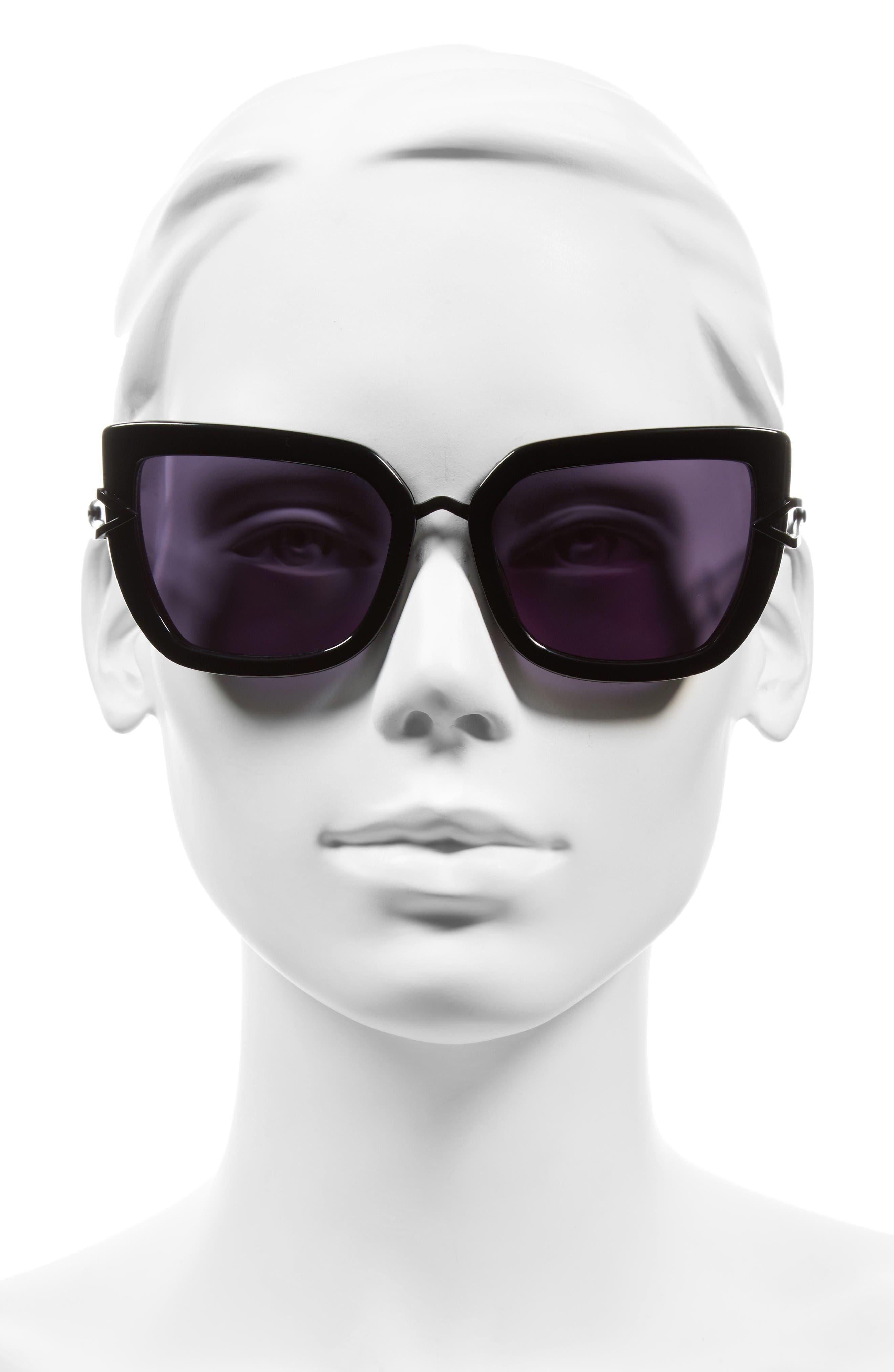 Bianca 56mm Cat Eye Sunglasses,                             Alternate thumbnail 2, color,                             Shiny Black/ Matte Satin Black