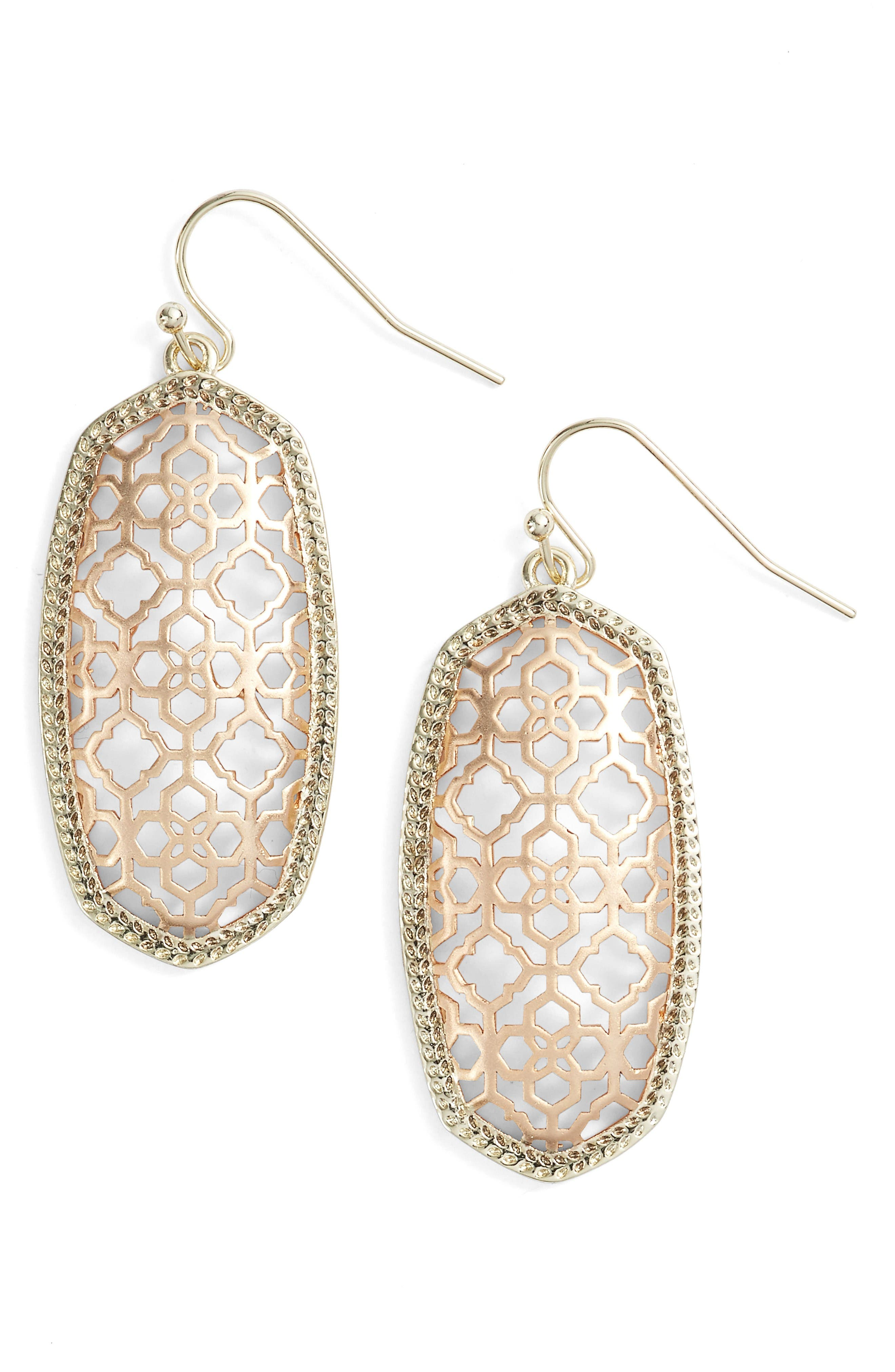 Elle Openwork Drop Earrings,                         Main,                         color, Gold/Rose Gold