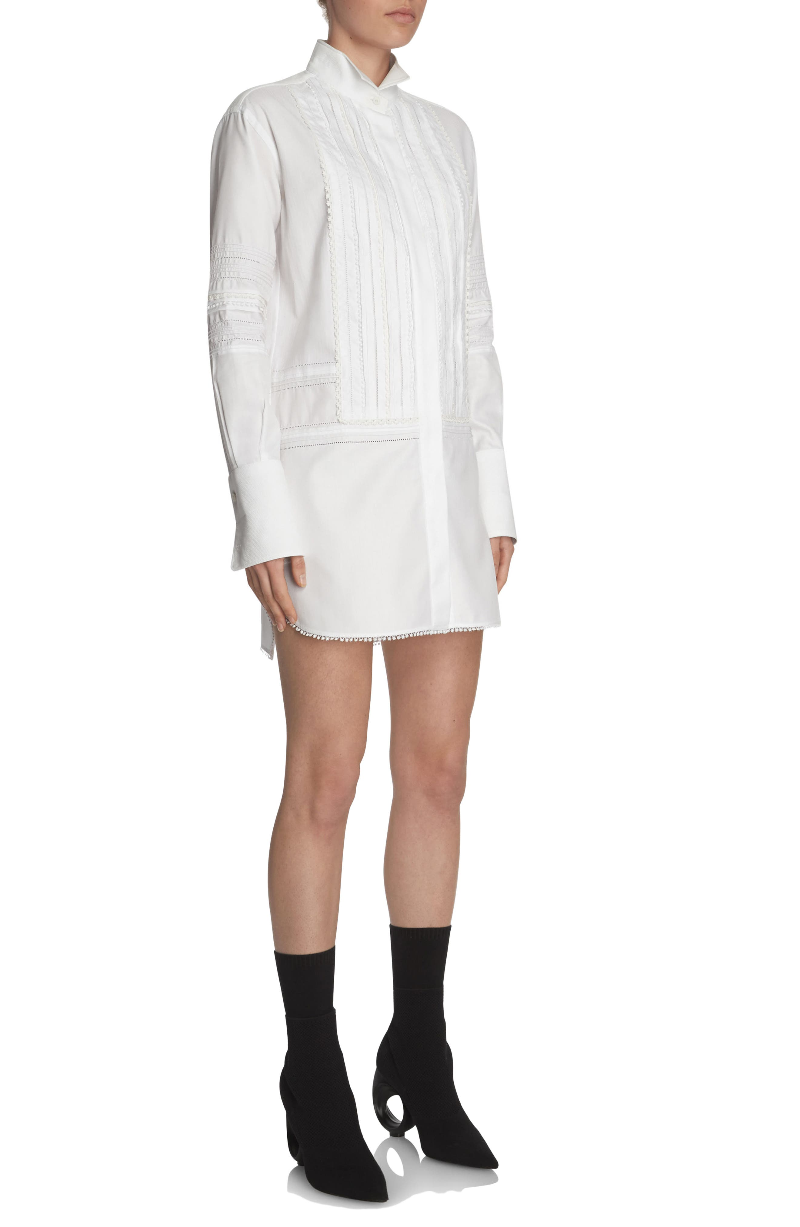 Pintuck Cotton Shirtdress,                             Alternate thumbnail 3, color,                             White