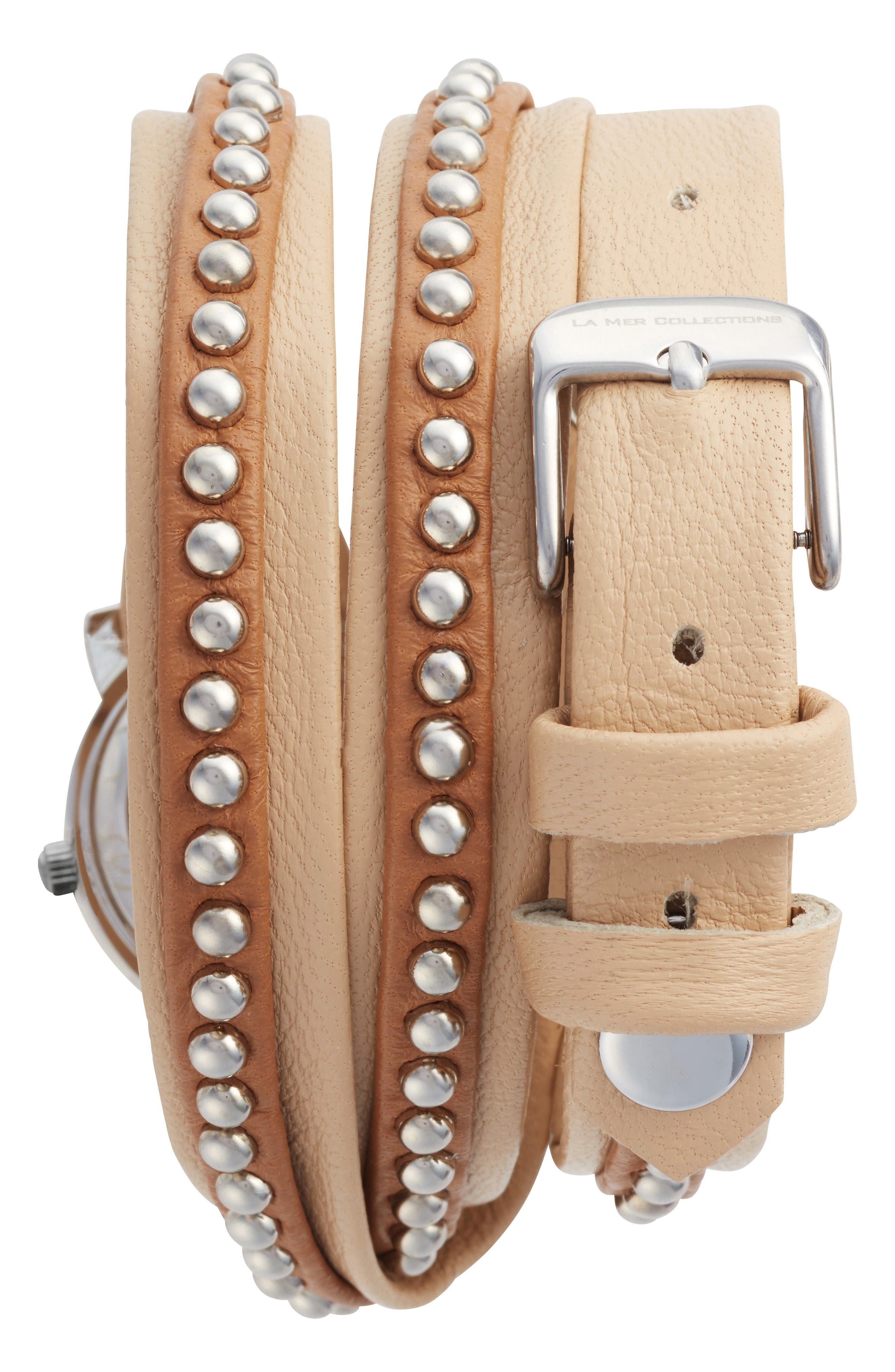 Bali Stud Leather Wrap Strap Watch, 25.4mm,                             Alternate thumbnail 2, color,                             Beige/ White/ Silver