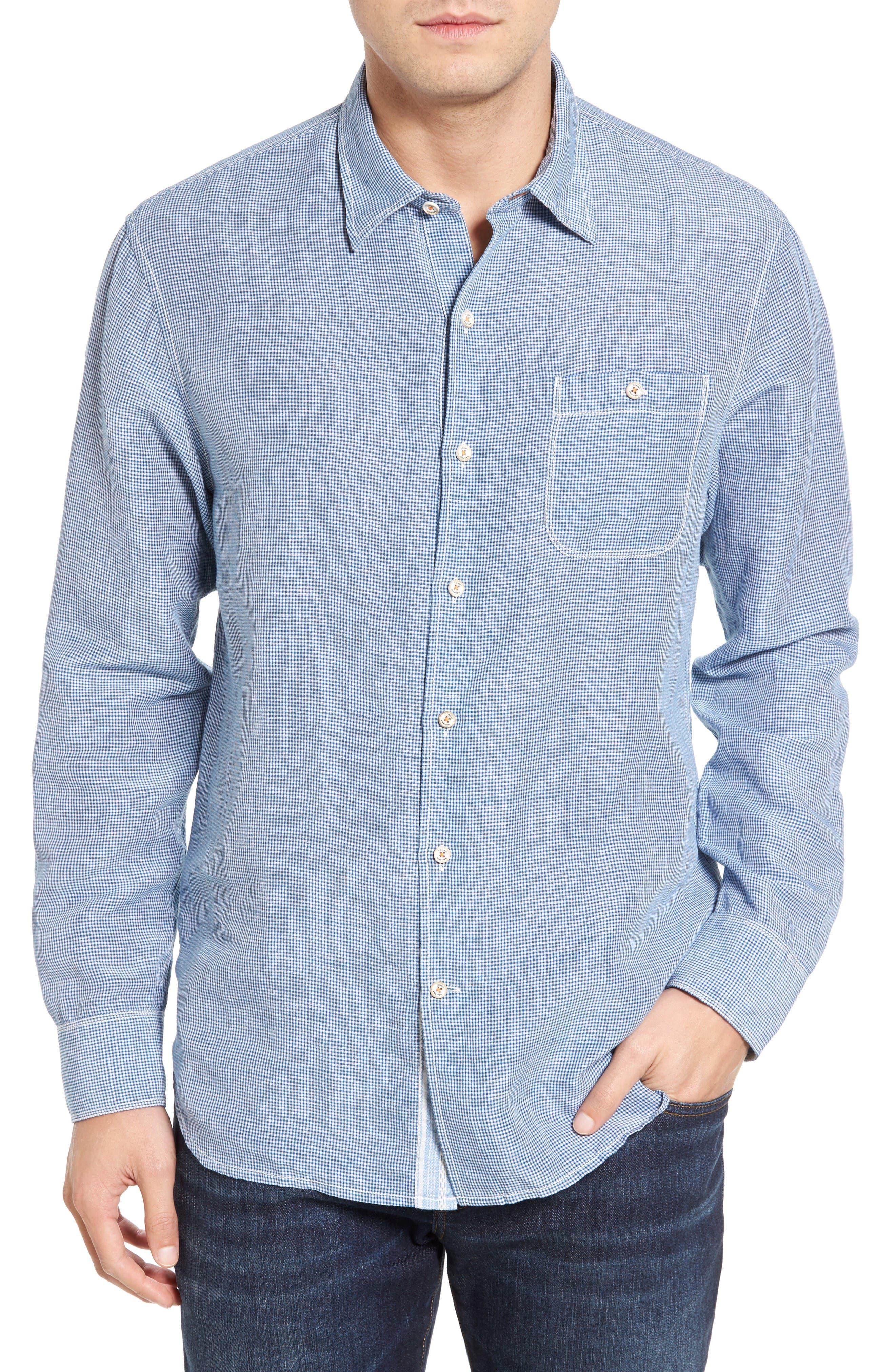 Sand Linen Island Modern Fit Sport Shirt,                         Main,                         color, Bering Blue