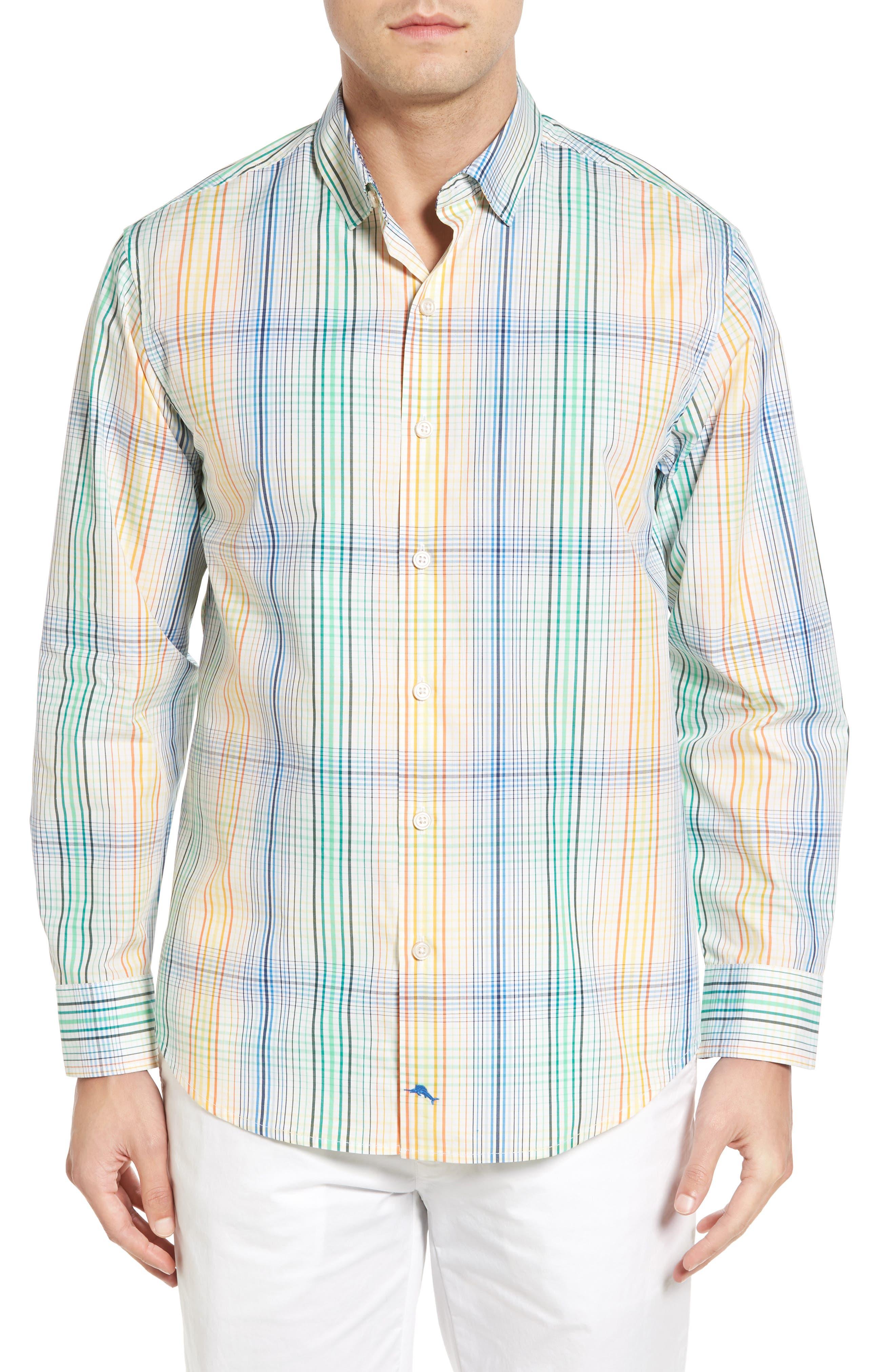 Metala Plaid Sport Shirt,                         Main,                         color, White