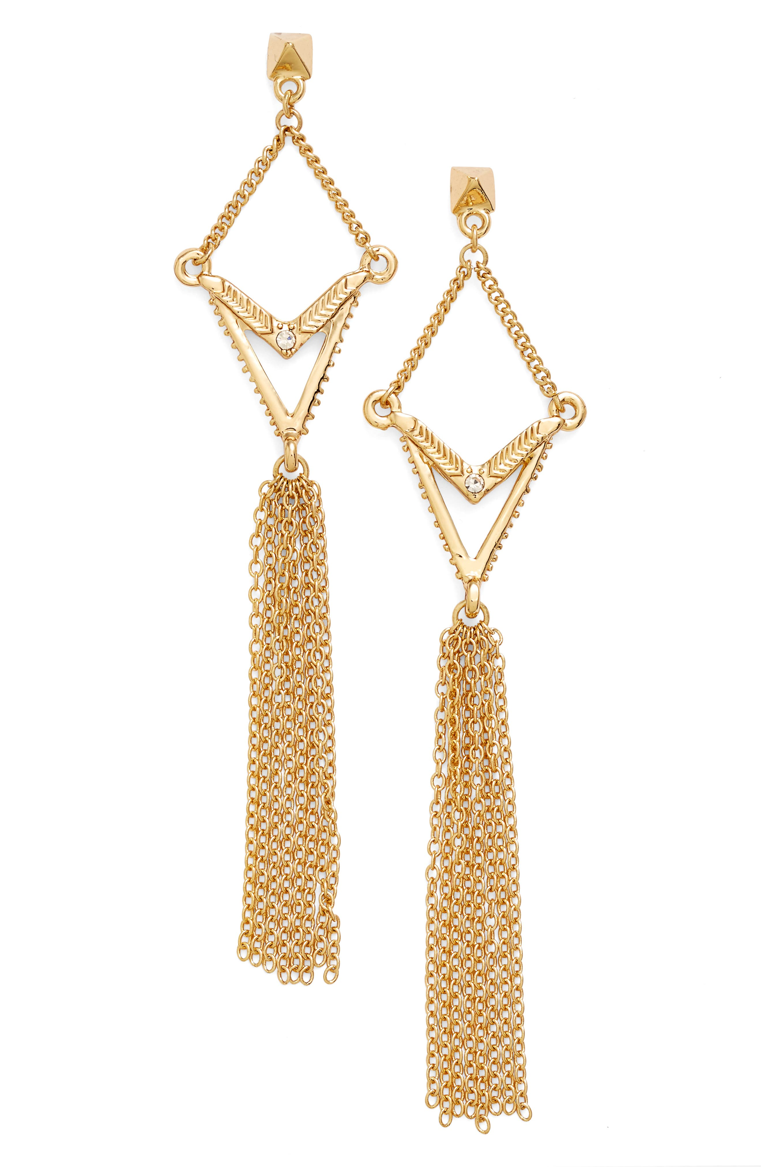 ETTIKA Geometric Tassel Drop Earrings