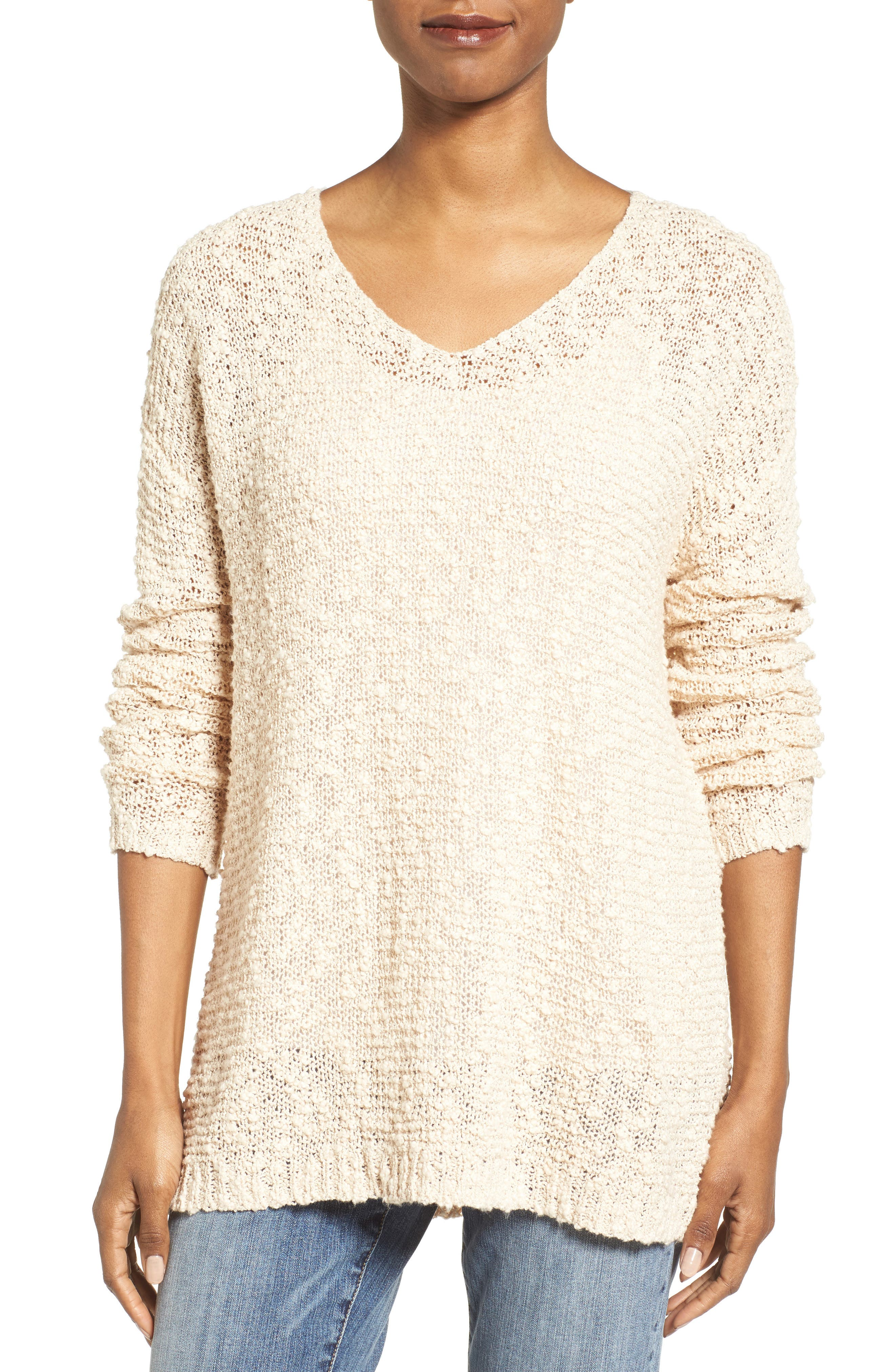 Open Stitch V-Neck Sweater,                             Main thumbnail 1, color,                             Beige Beach
