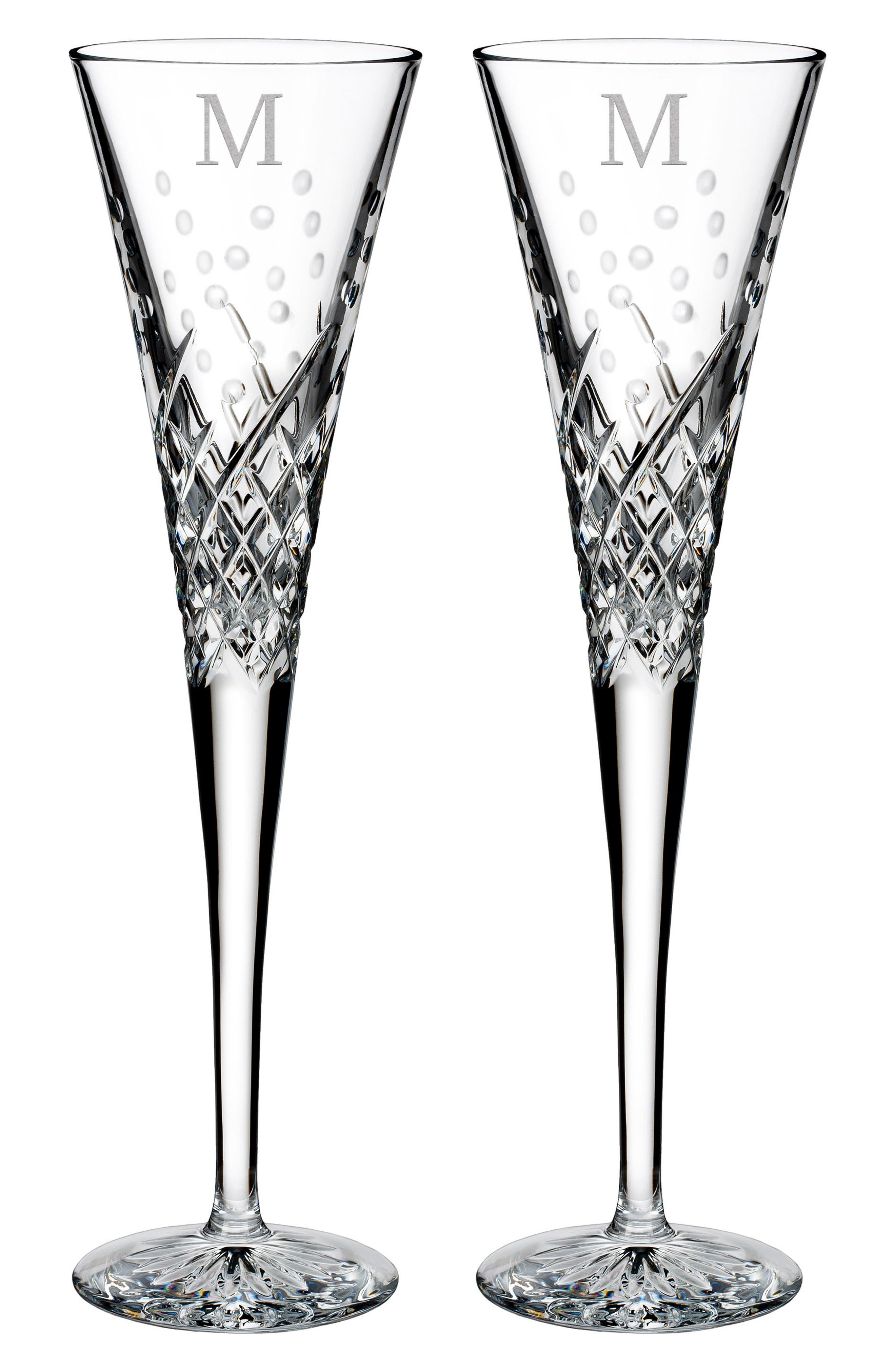 Main Image - Waterford Happy Celebrations Set of 2 Monogram Lead Crystal Champagne Flutes