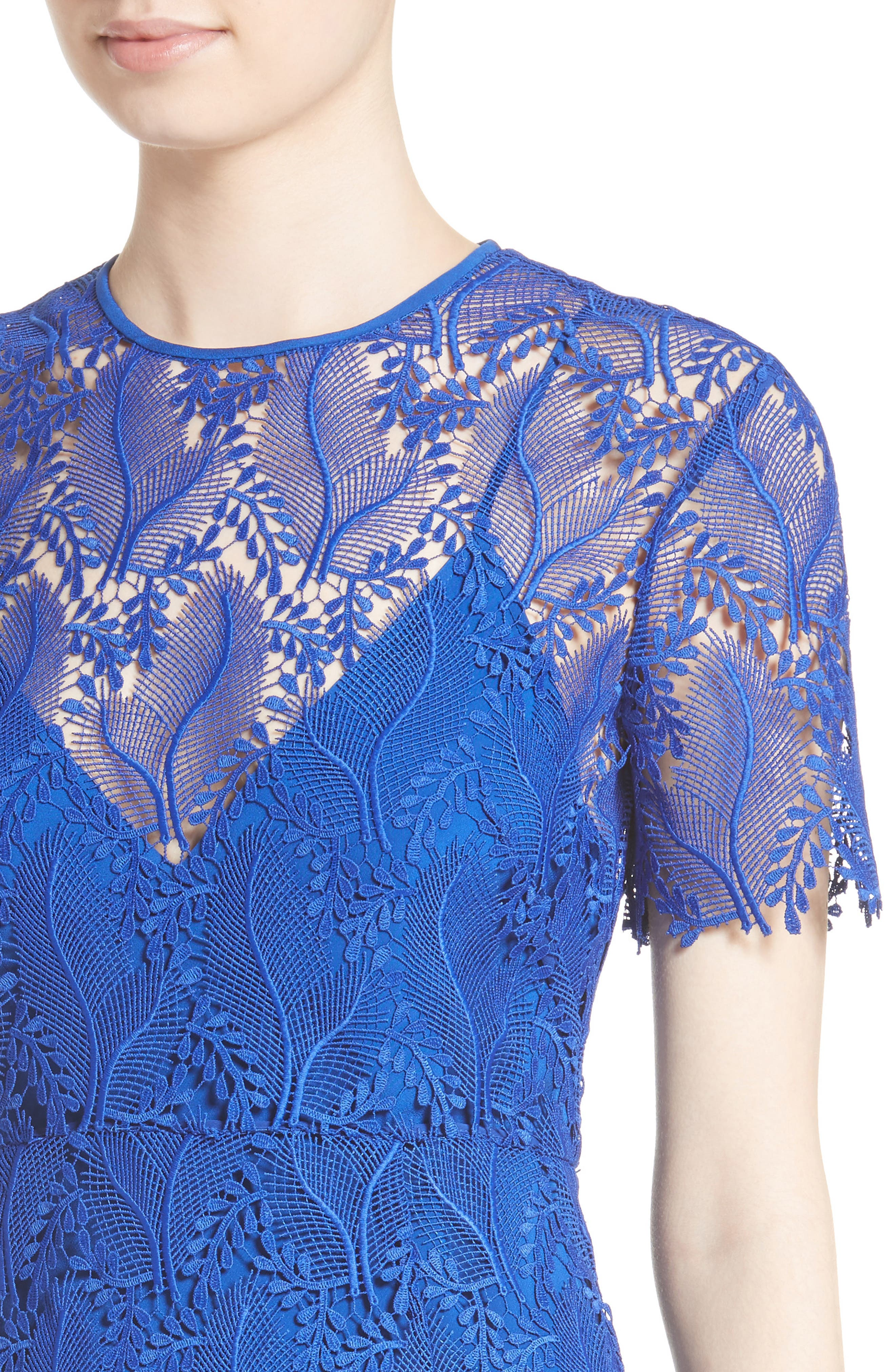 Lace Midi Sheath Dress,                             Alternate thumbnail 4, color,                             Klein Blue