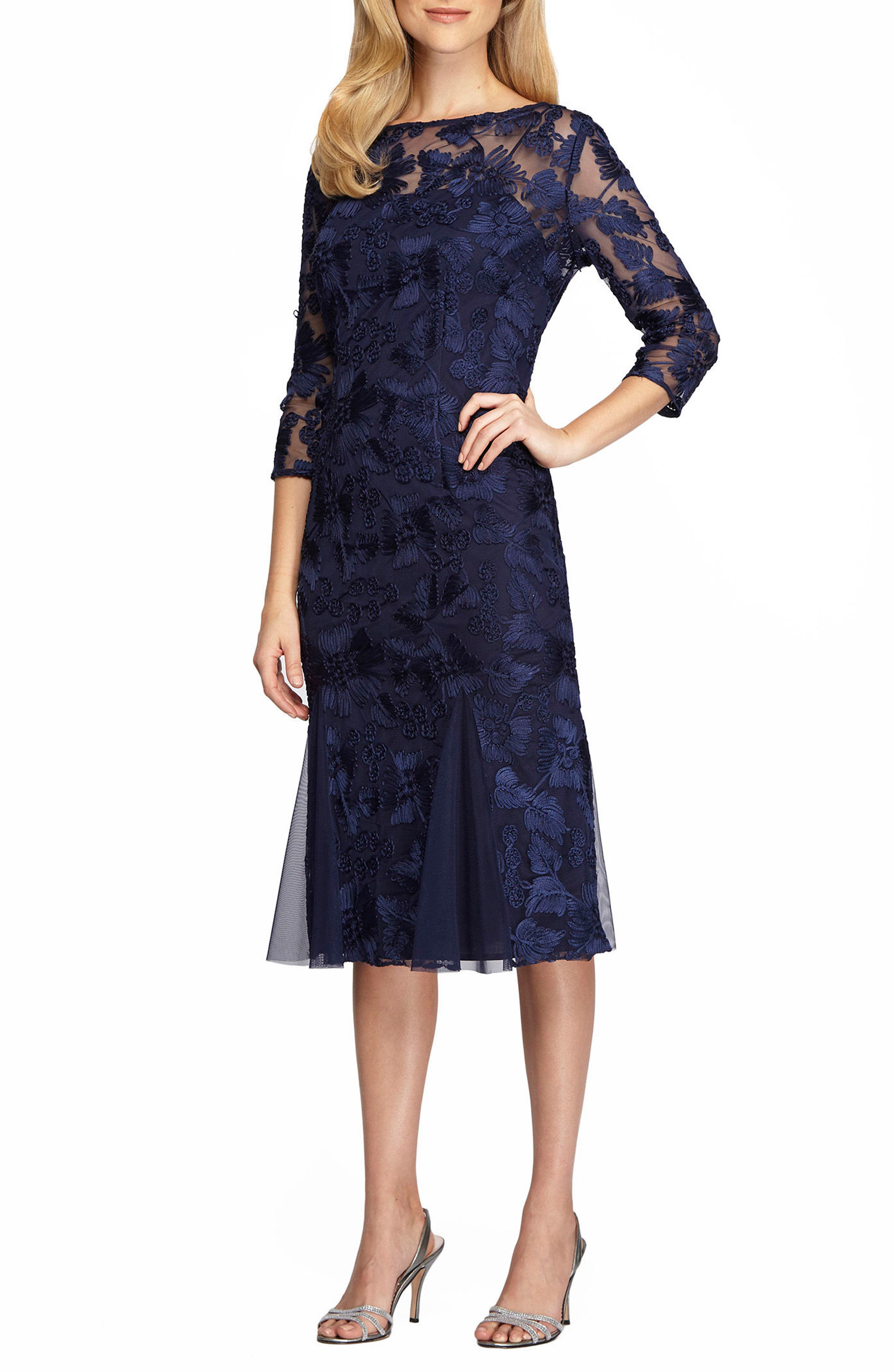 Lace Midi Dress,                             Main thumbnail 1, color,                             Navy