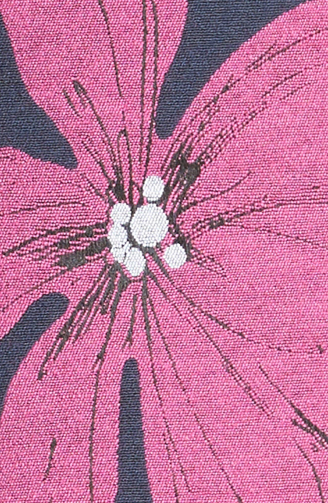 Floral Print Stretch Jacquard Tunic Dress,                             Alternate thumbnail 3, color,                             Navy/ Fuchsia