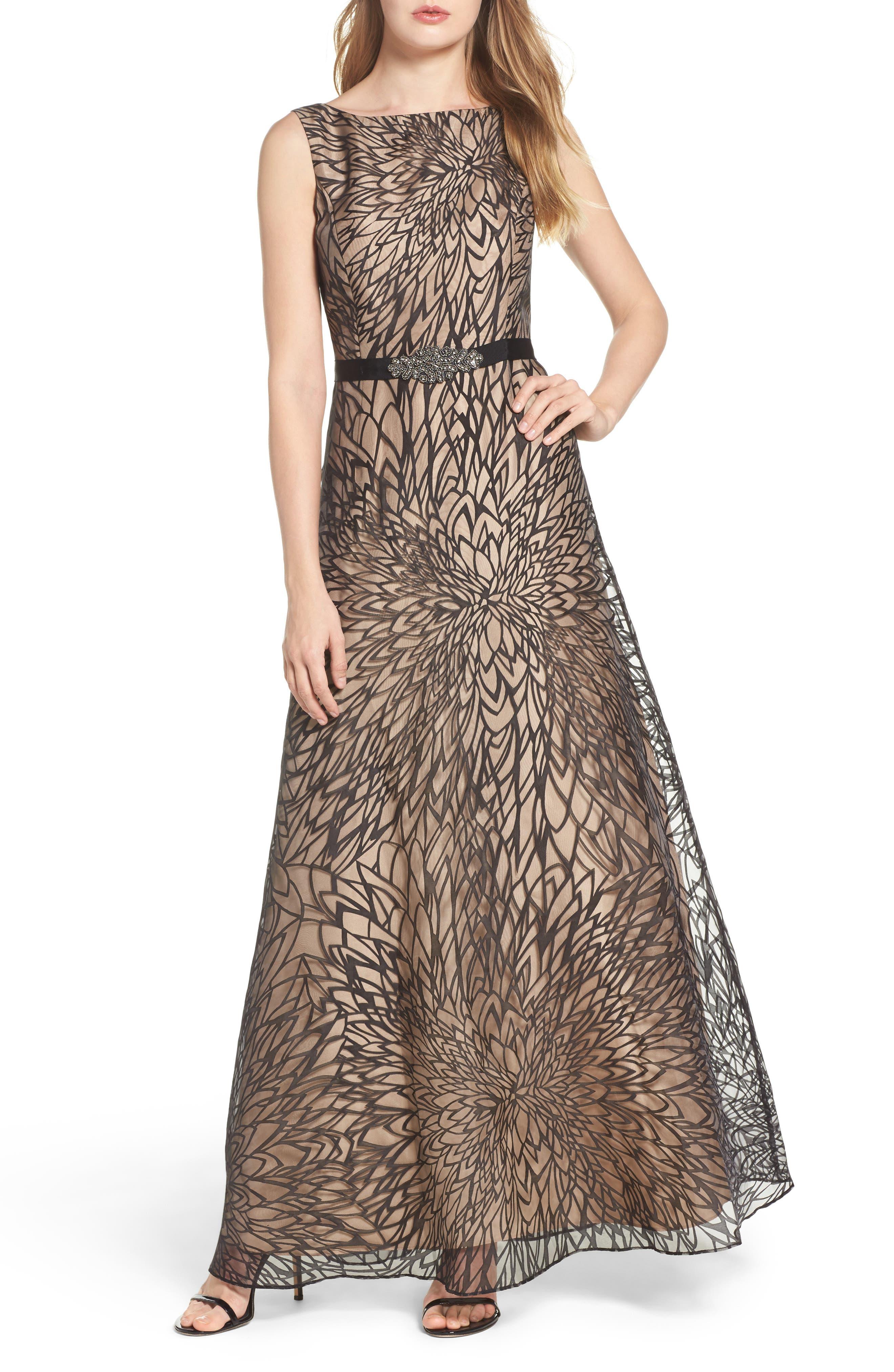 Ellen Tracy Burnout Organza Gown