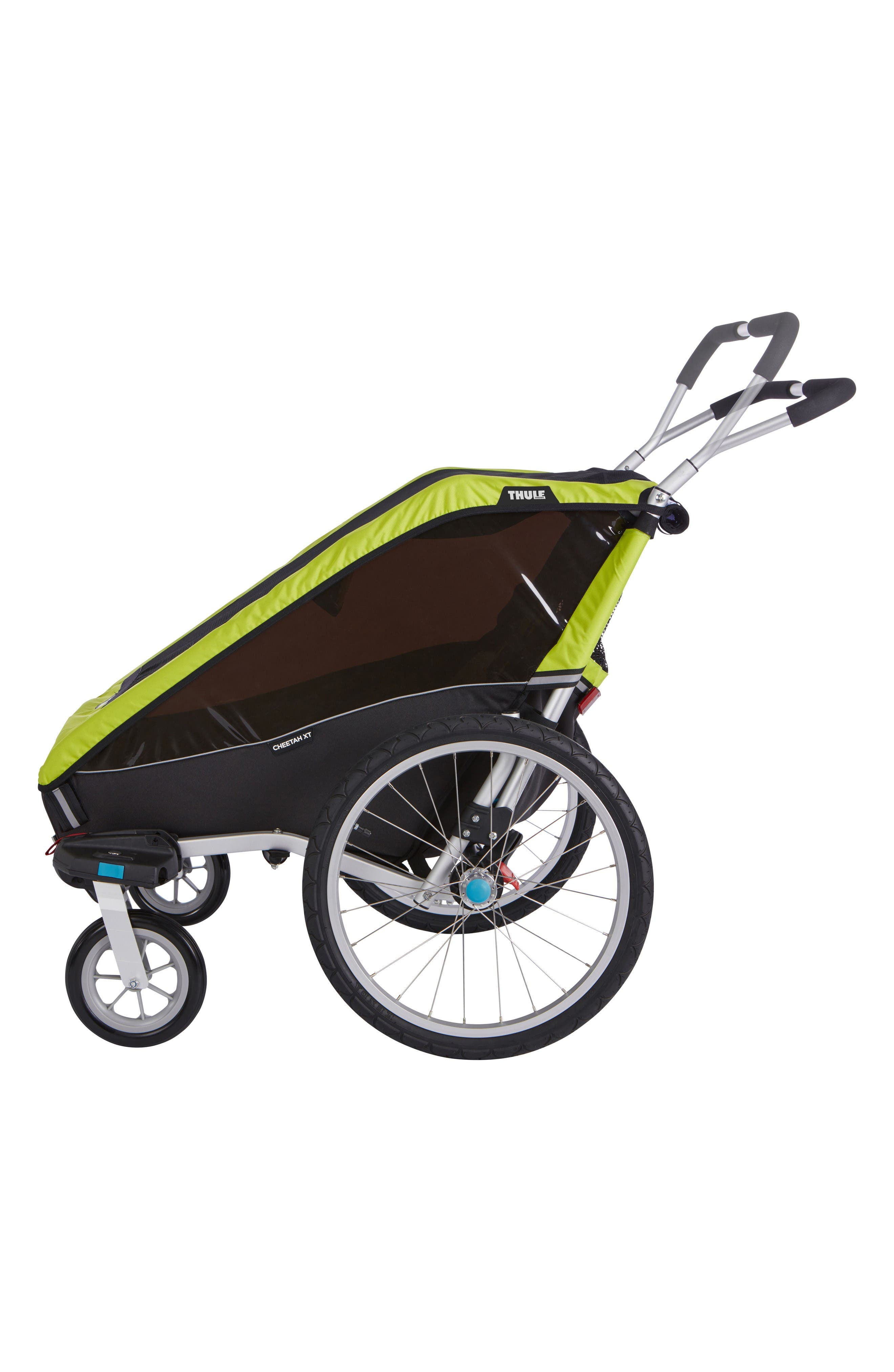 Chariot Cheetah XT 2 Multisport Double Cycle Trailer/Stroller,                             Alternate thumbnail 3, color,                             Chartreuse