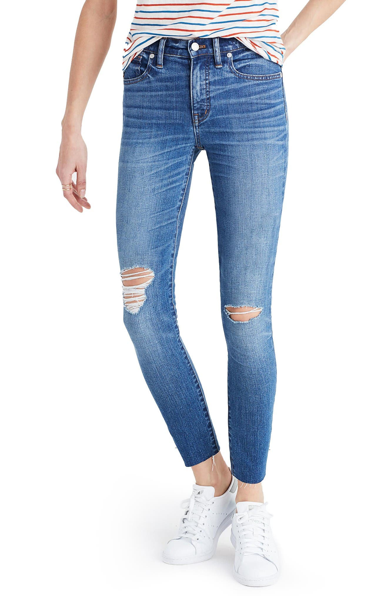 Alternate Image 1 Selected - Madewell 9-Inch High-Rise Skinny Crop Jeans (Bruce Wash)