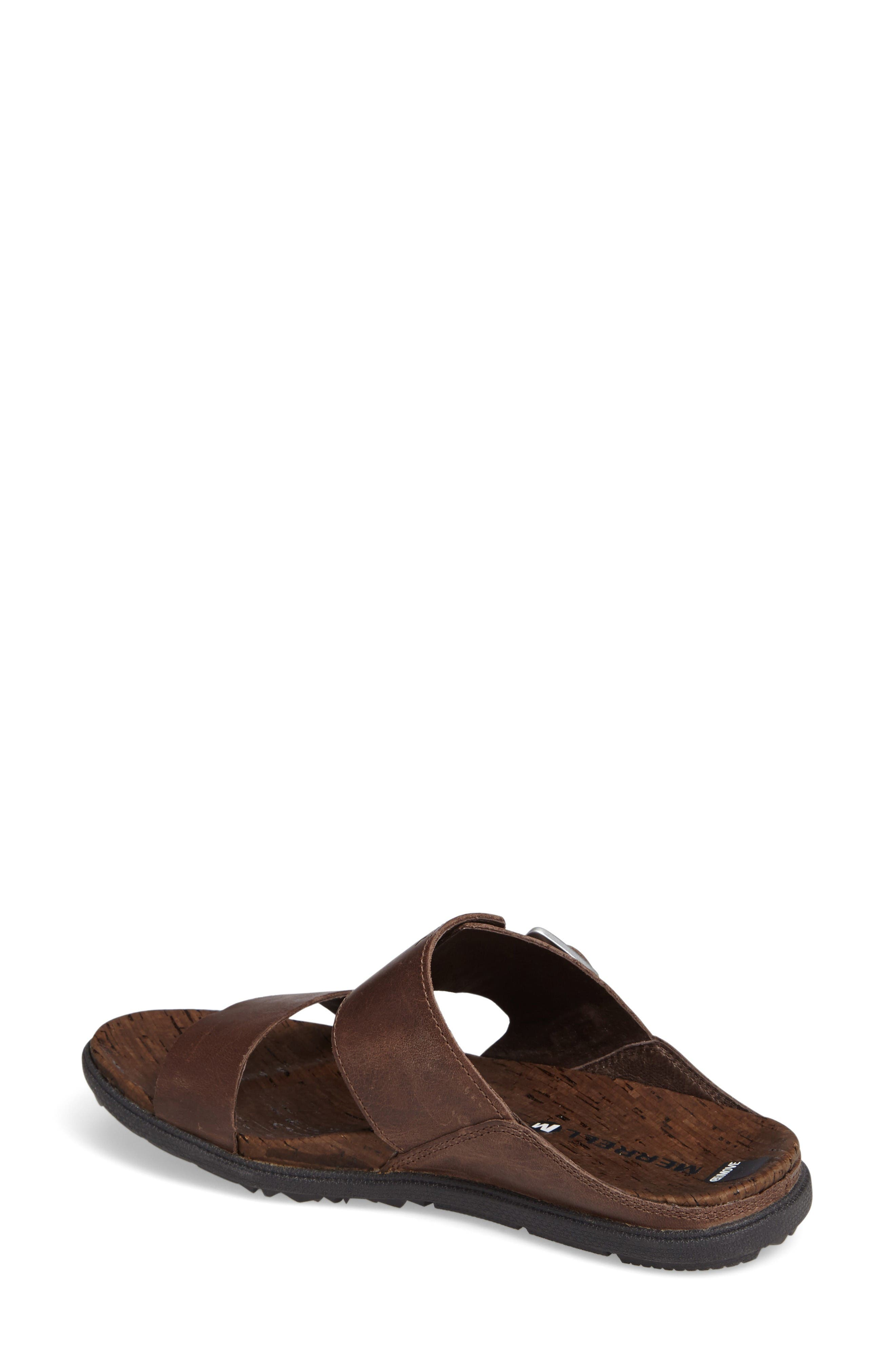 Around Town Slide Sandal,                             Alternate thumbnail 2, color,                             Brown Leather